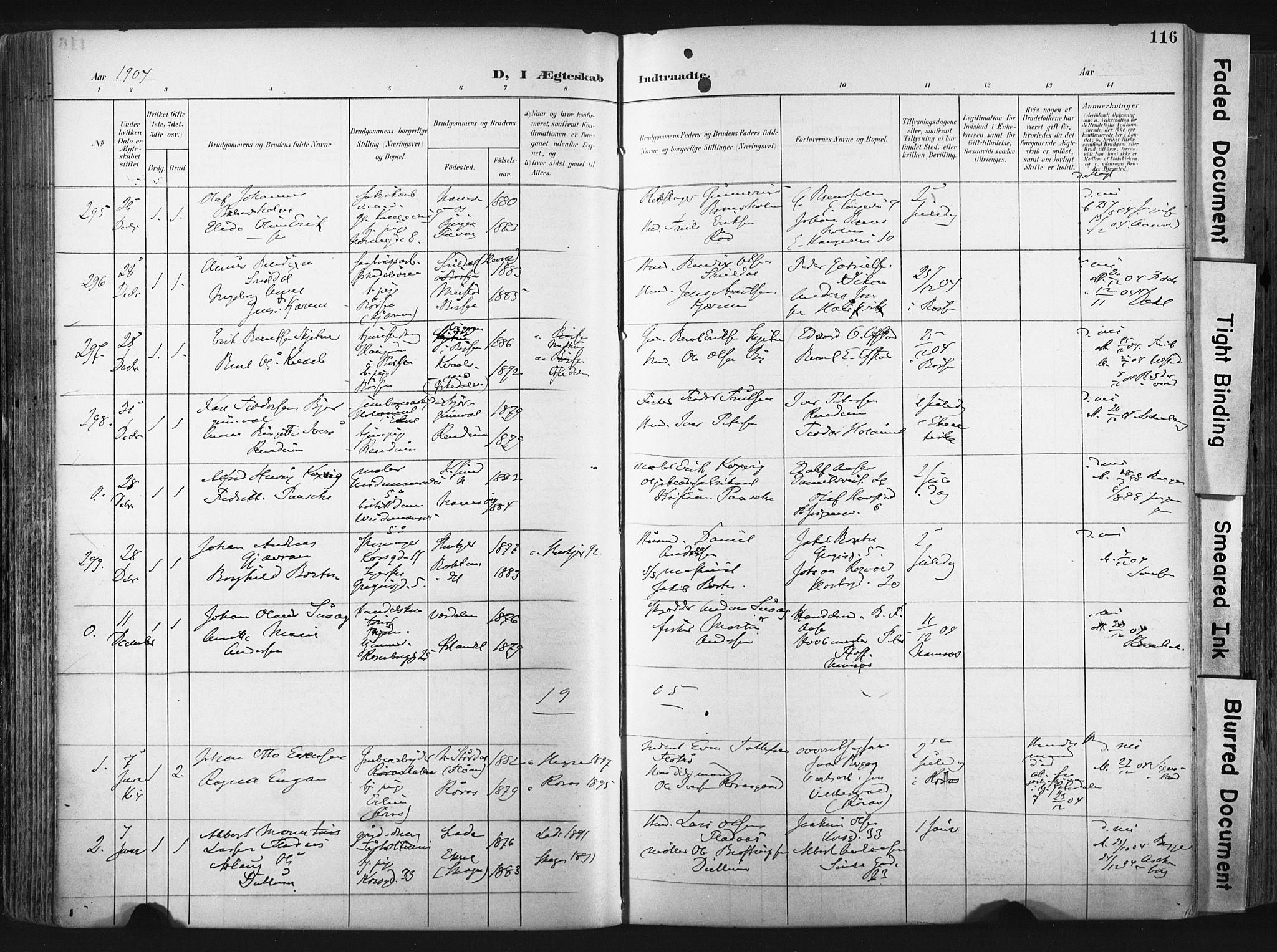 SAT, Ministerialprotokoller, klokkerbøker og fødselsregistre - Sør-Trøndelag, 604/L0201: Ministerialbok nr. 604A21, 1901-1911, s. 116