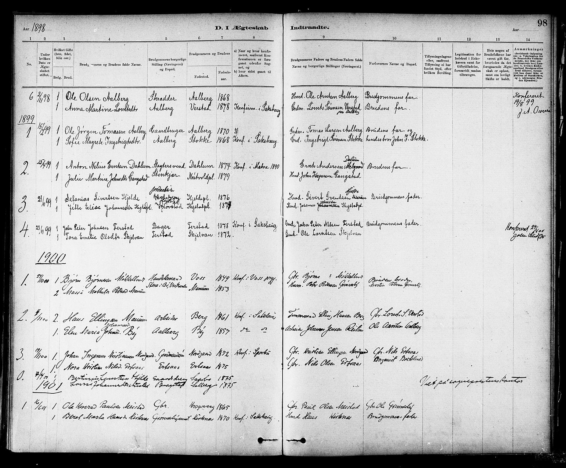 SAT, Ministerialprotokoller, klokkerbøker og fødselsregistre - Nord-Trøndelag, 732/L0318: Klokkerbok nr. 732C02, 1881-1911, s. 98