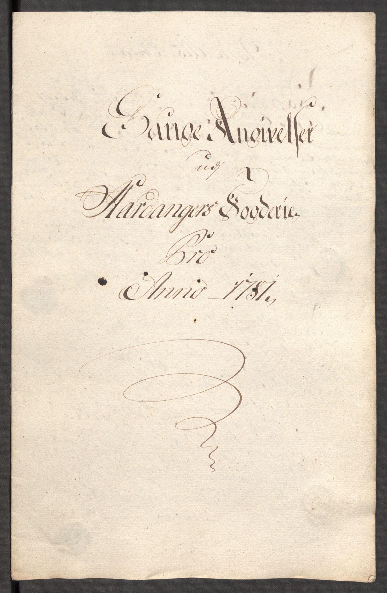RA, Rentekammeret inntil 1814, Reviderte regnskaper, Fogderegnskap, R48/L3097: Fogderegnskap Sunnhordland og Hardanger, 1781, s. 235