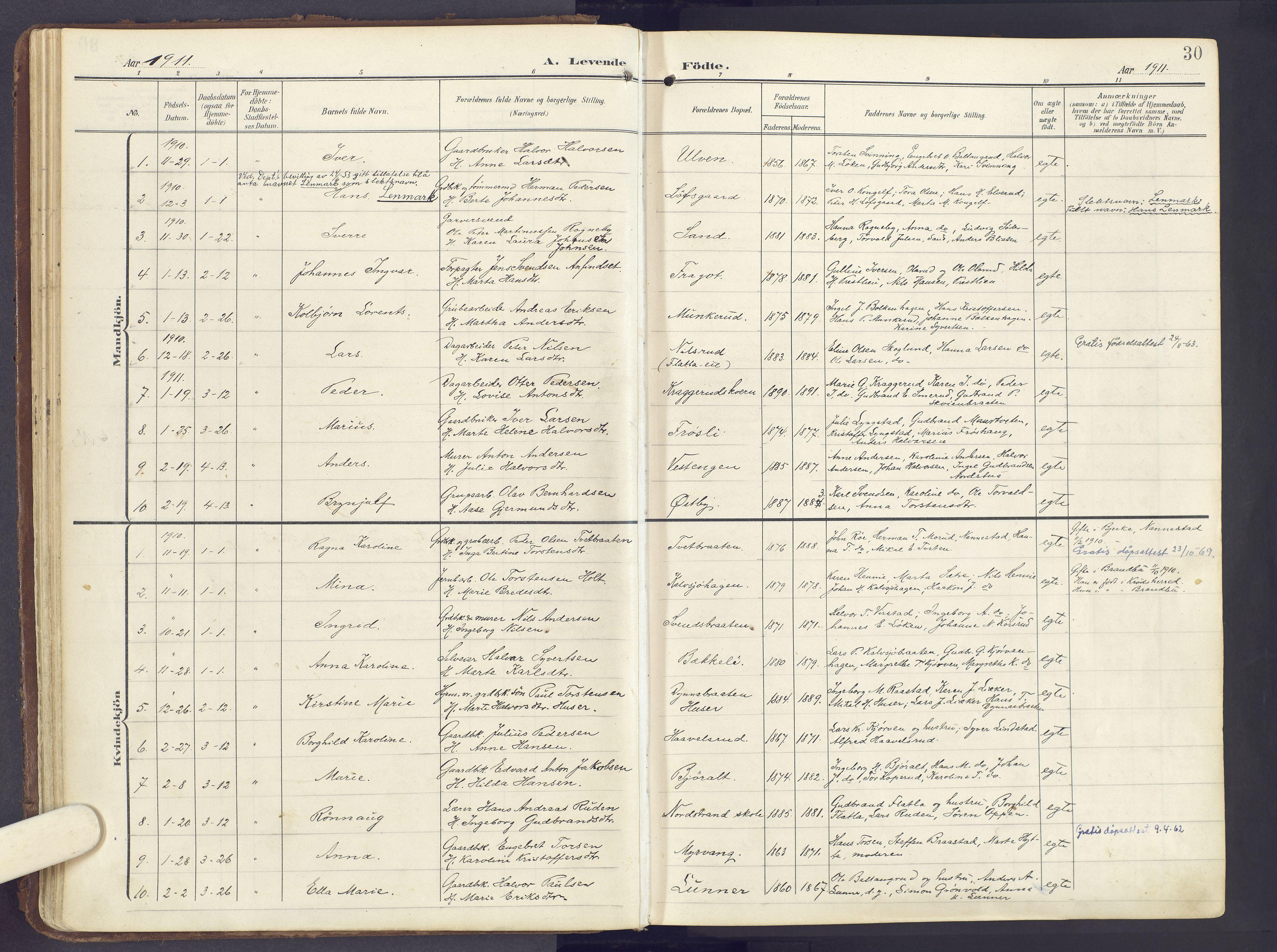 SAH, Lunner prestekontor, H/Ha/Haa/L0001: Ministerialbok nr. 1, 1907-1922, s. 30
