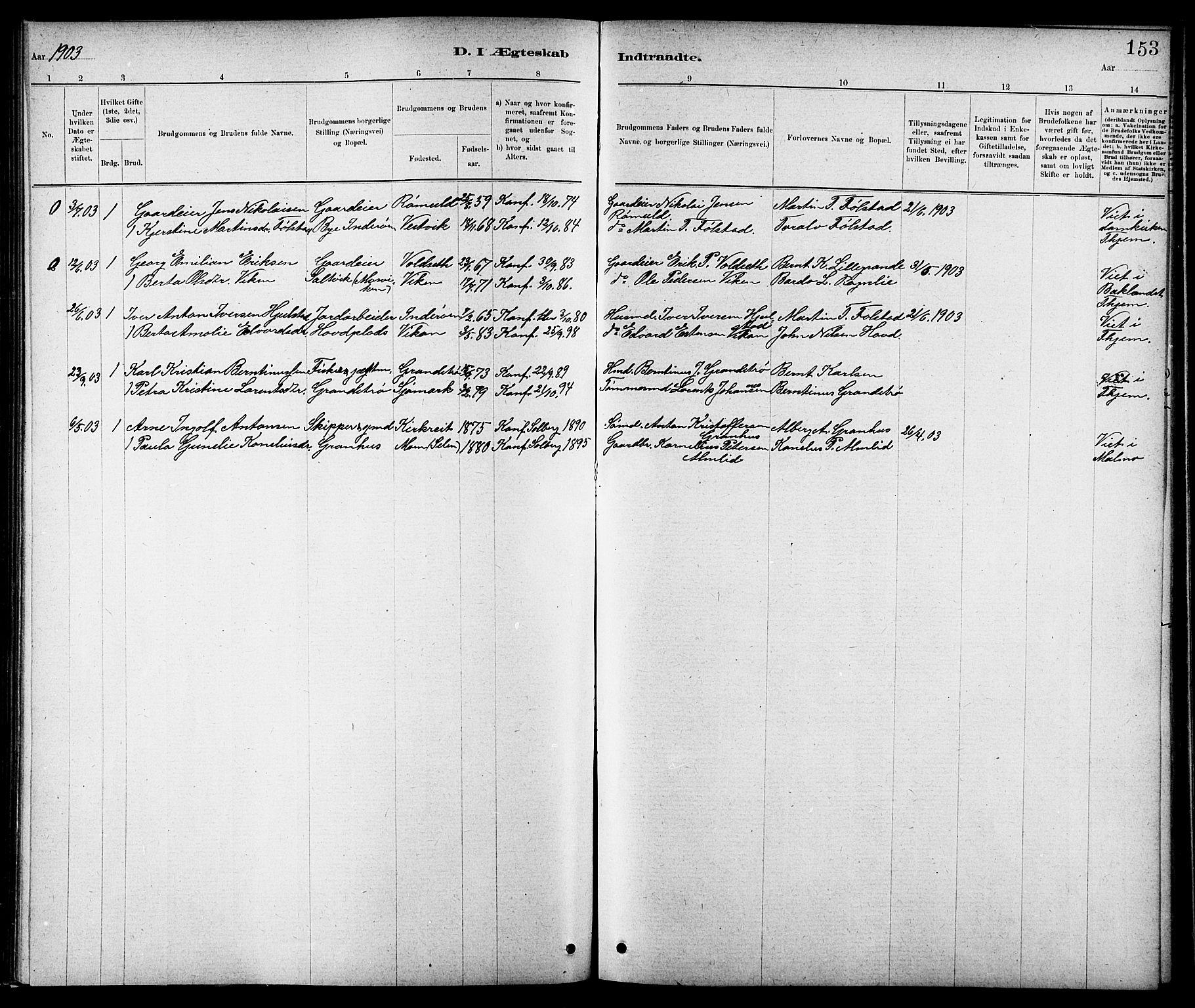 SAT, Ministerialprotokoller, klokkerbøker og fødselsregistre - Nord-Trøndelag, 744/L0423: Klokkerbok nr. 744C02, 1886-1905, s. 153