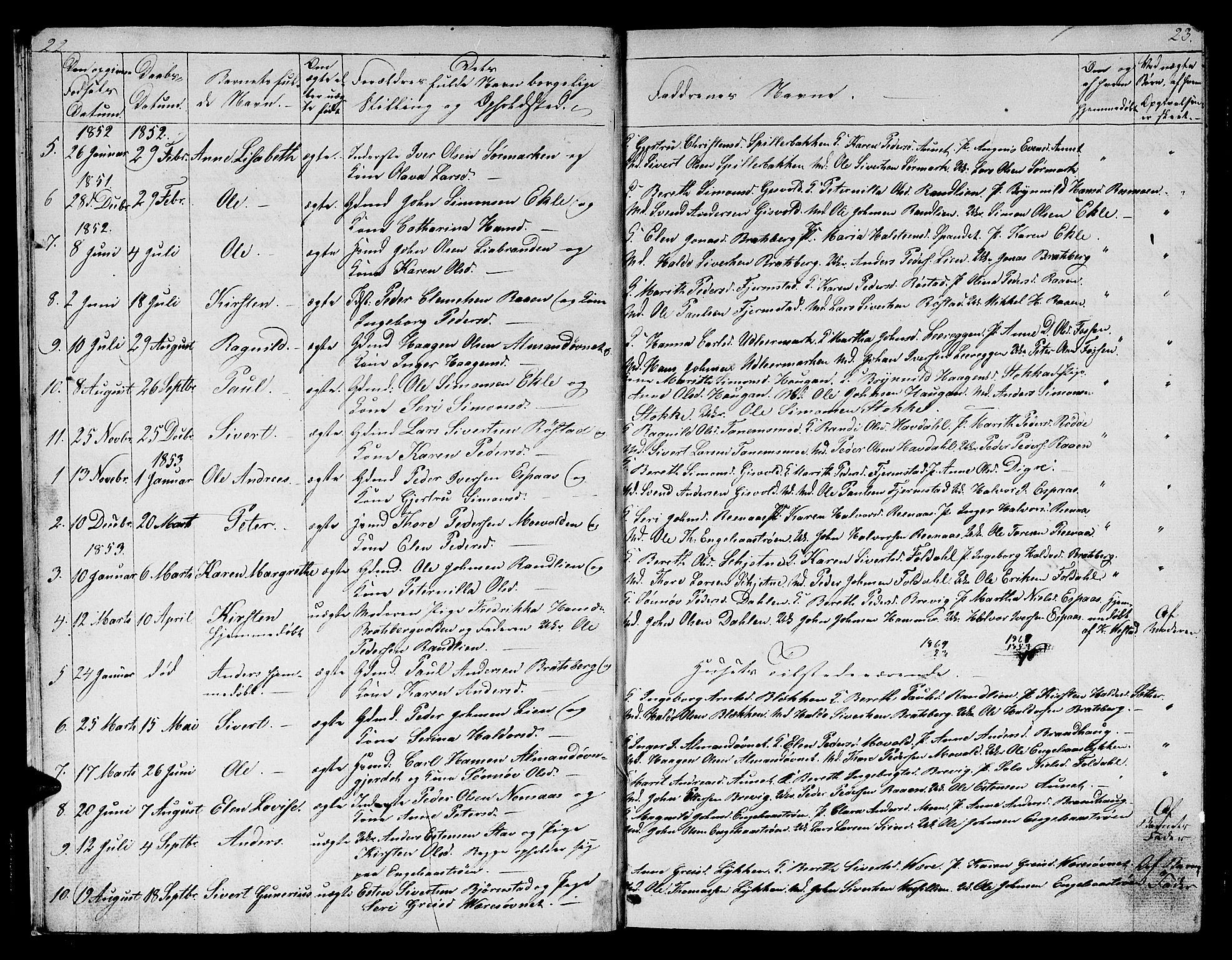SAT, Ministerialprotokoller, klokkerbøker og fødselsregistre - Sør-Trøndelag, 608/L0339: Klokkerbok nr. 608C05, 1844-1863, s. 22-23
