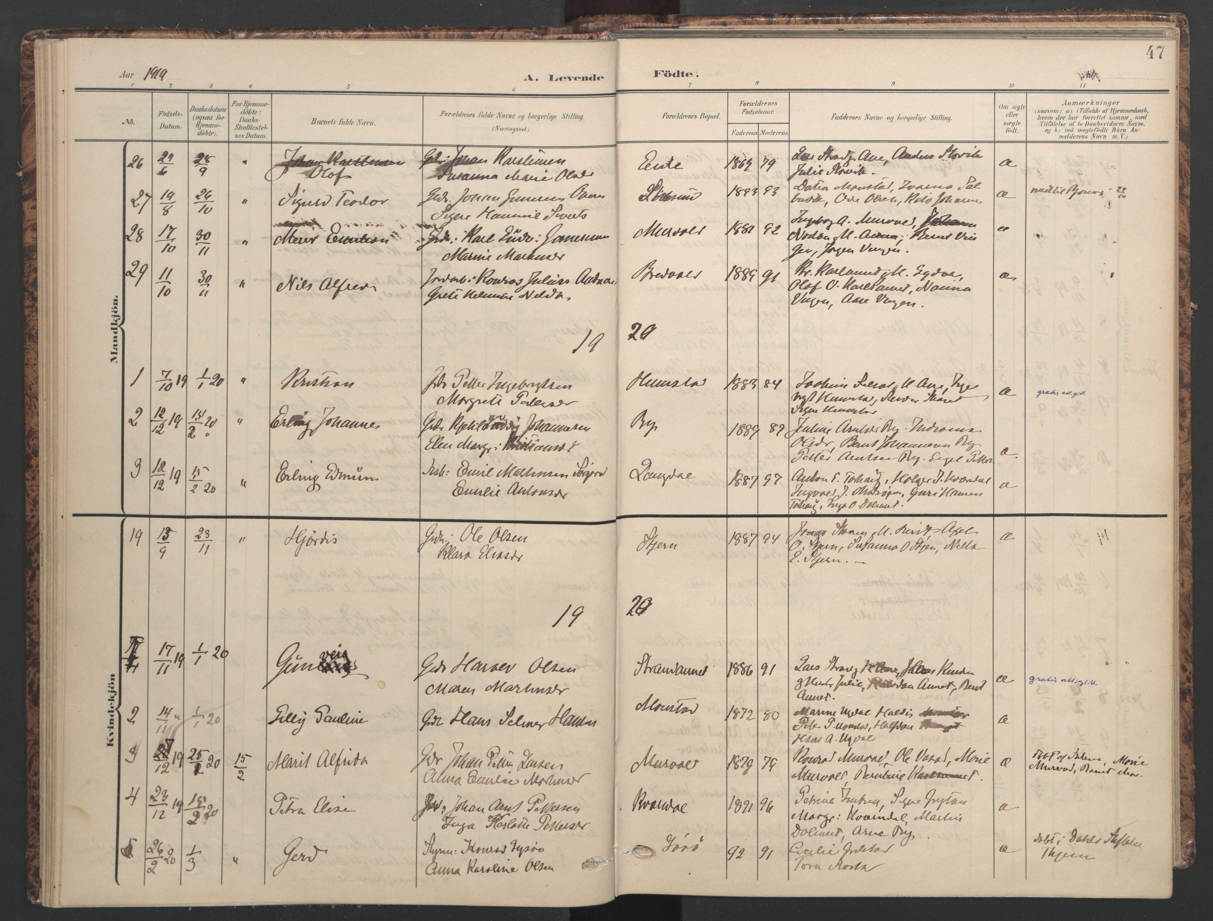 SAT, Ministerialprotokoller, klokkerbøker og fødselsregistre - Sør-Trøndelag, 655/L0682: Ministerialbok nr. 655A11, 1908-1922, s. 47