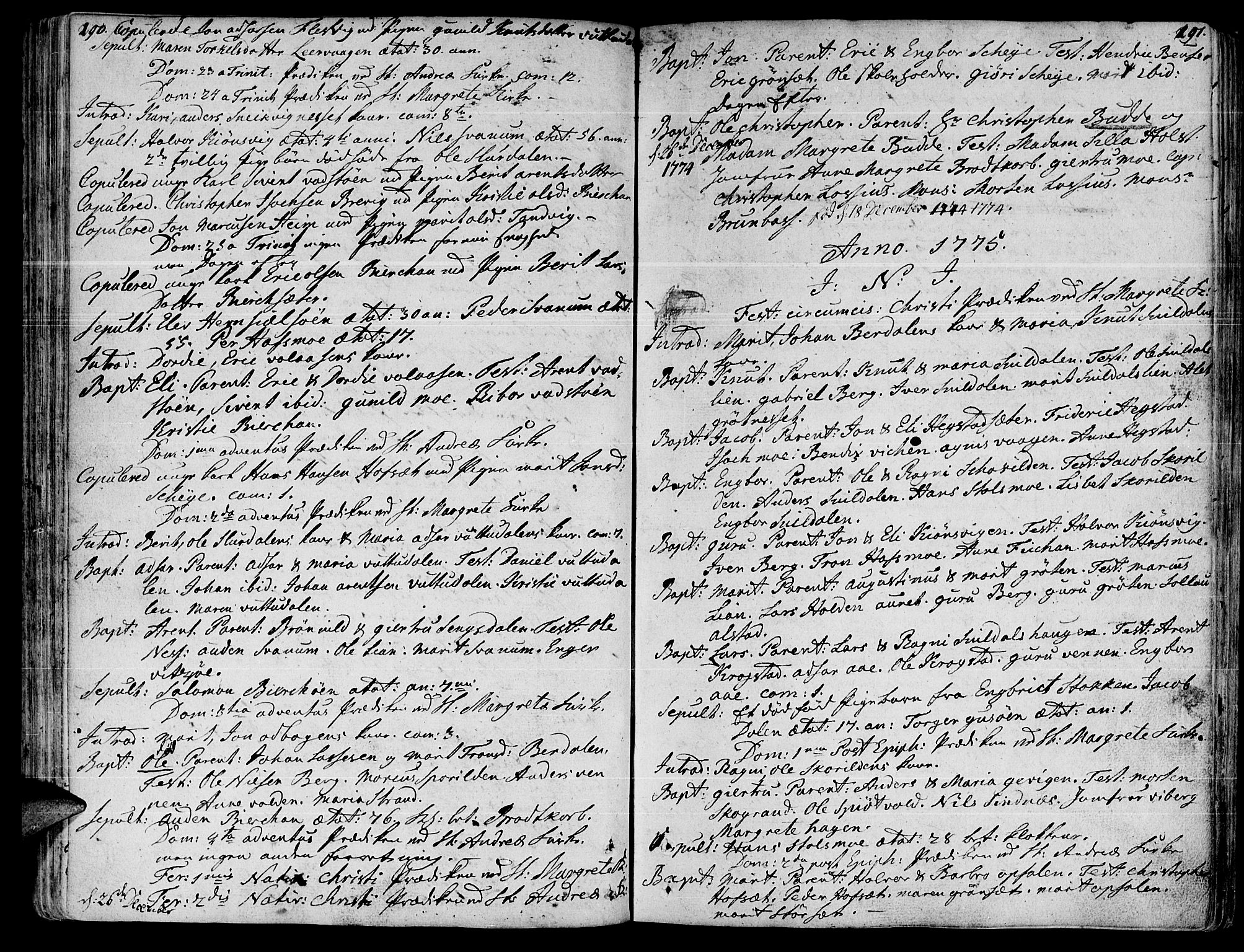 SAT, Ministerialprotokoller, klokkerbøker og fødselsregistre - Sør-Trøndelag, 630/L0489: Ministerialbok nr. 630A02, 1757-1794, s. 190-191