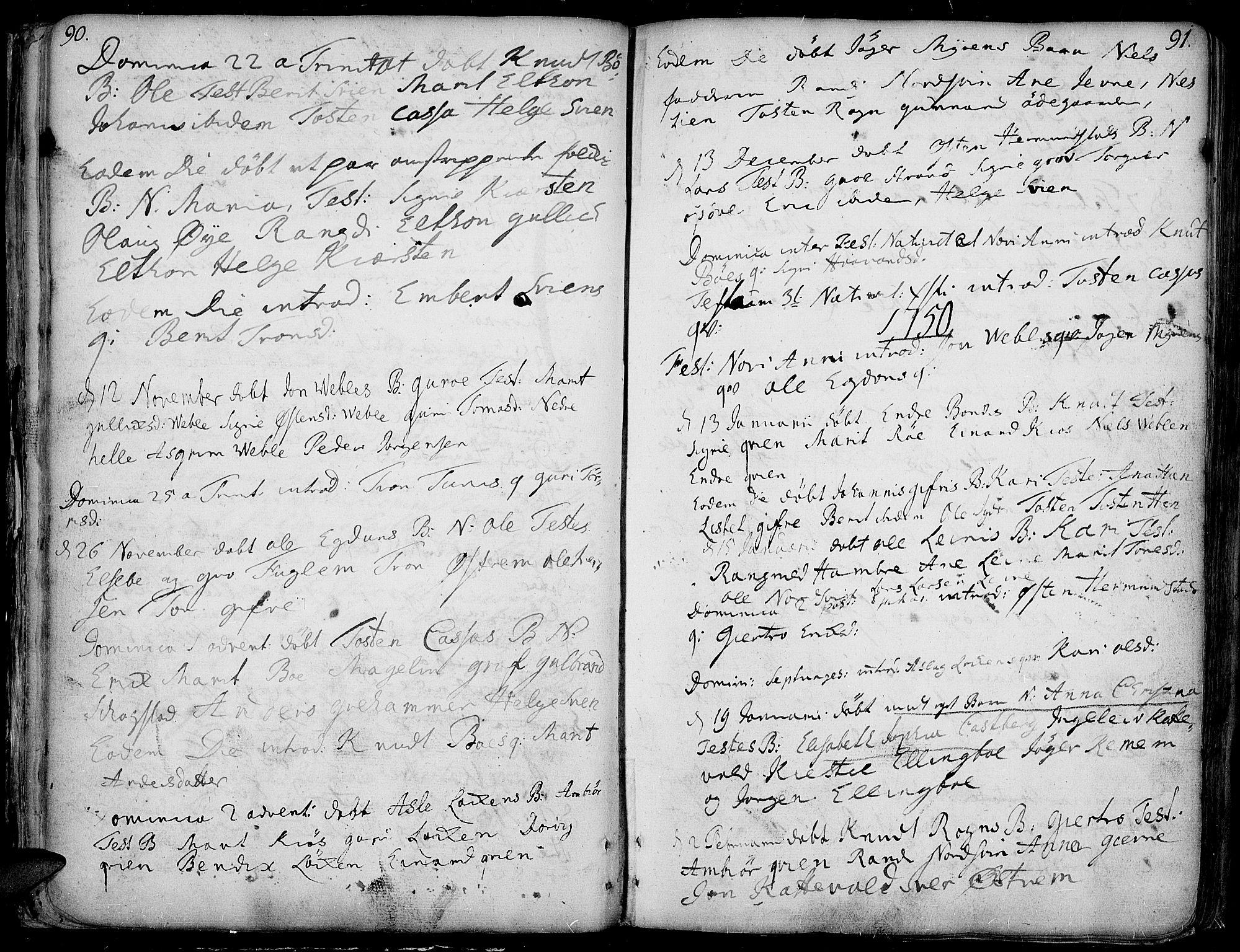 SAH, Vang prestekontor, Valdres, Ministerialbok nr. 1, 1730-1796, s. 90-91