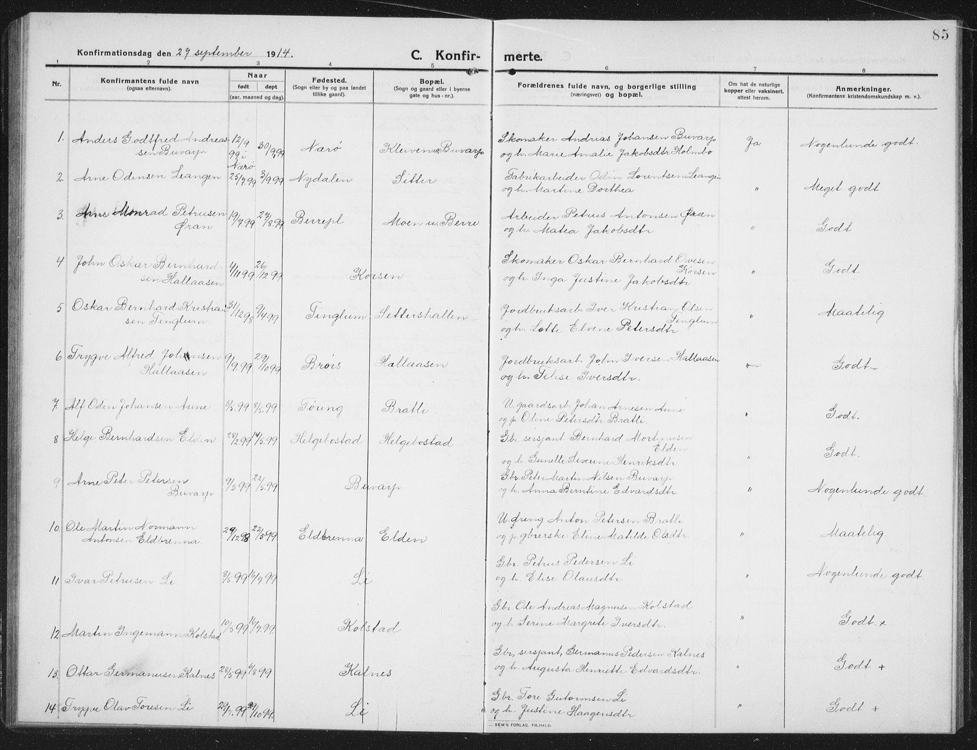 SAT, Ministerialprotokoller, klokkerbøker og fødselsregistre - Nord-Trøndelag, 742/L0413: Klokkerbok nr. 742C04, 1911-1938, s. 85