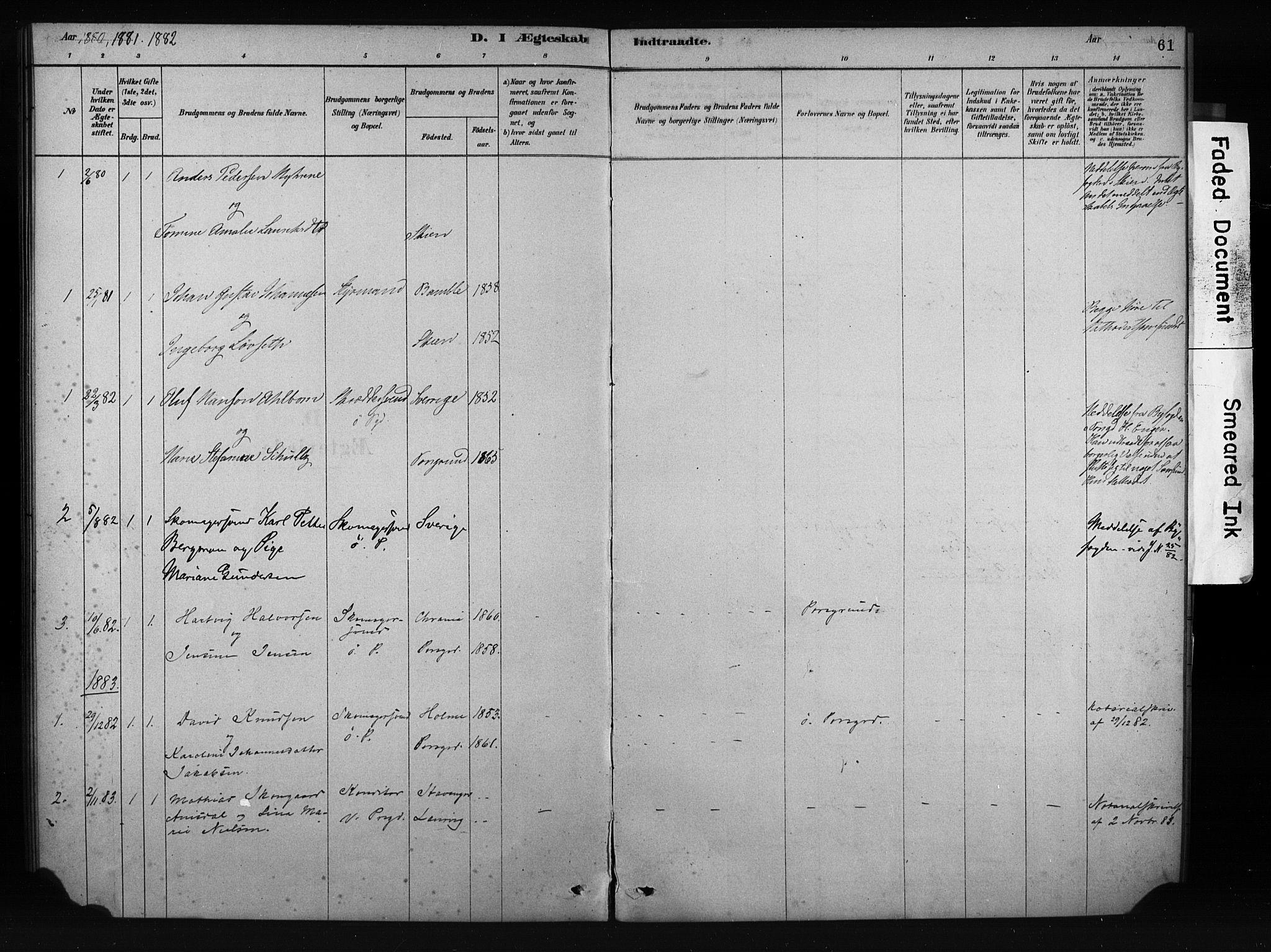 SAKO, Porsgrunn kirkebøker , F/Fa/L0009: Ministerialbok nr. 9, 1878-1923, s. 61