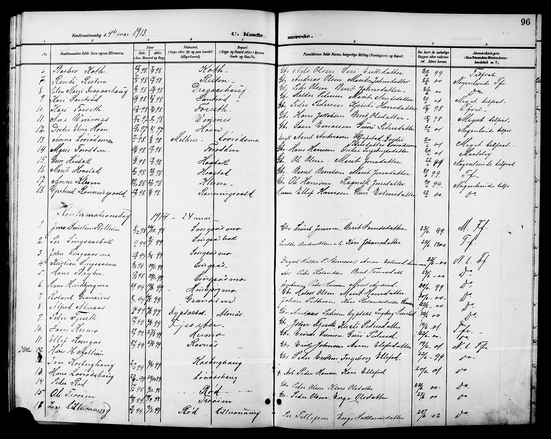 SAT, Ministerialprotokoller, klokkerbøker og fødselsregistre - Sør-Trøndelag, 688/L1029: Klokkerbok nr. 688C04, 1899-1915, s. 96