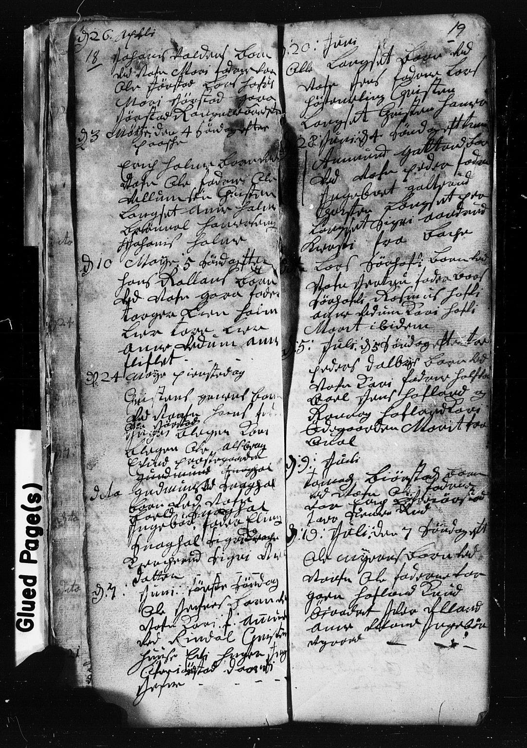 SAH, Fåberg prestekontor, Klokkerbok nr. 1, 1727-1767, s. 18-19