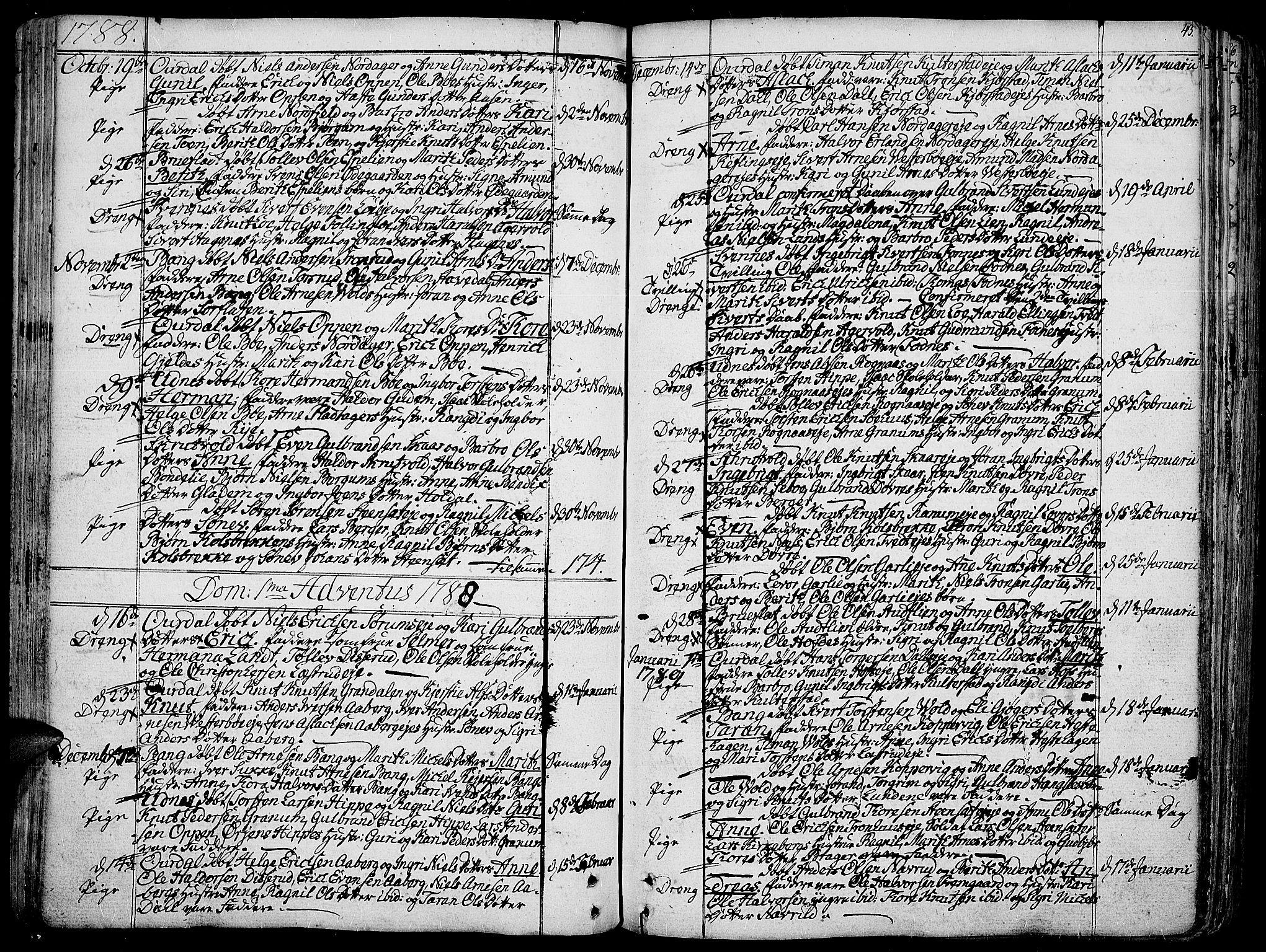 SAH, Aurdal prestekontor, Ministerialbok nr. 6, 1781-1804, s. 43