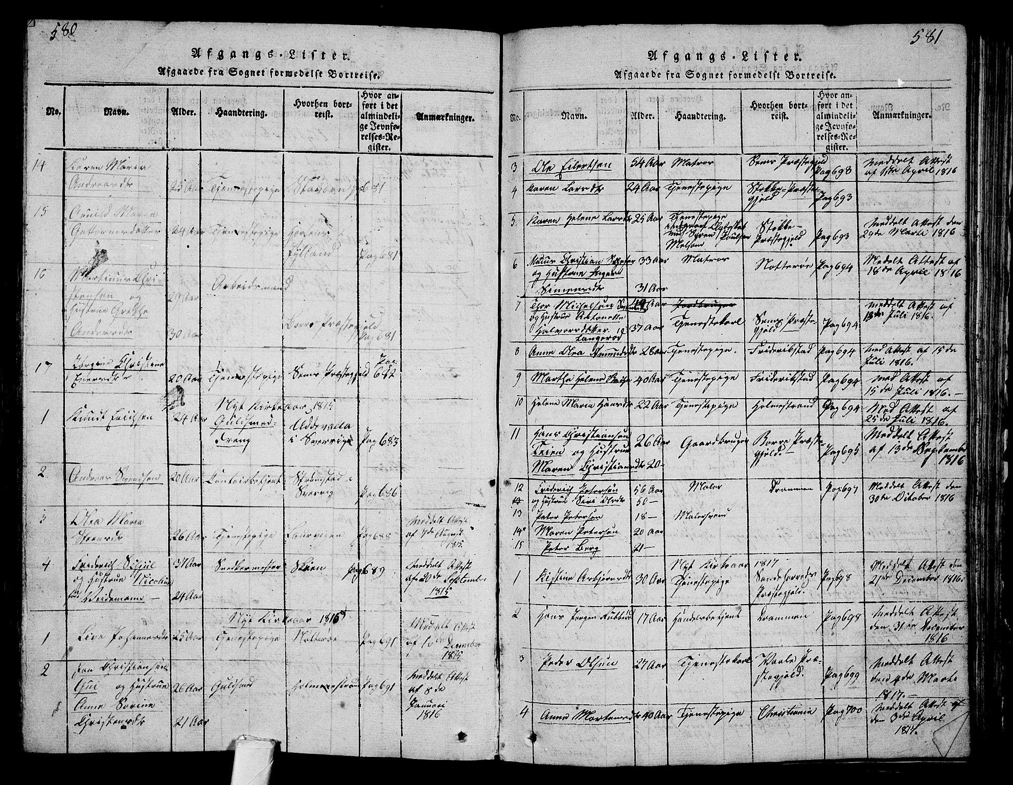 SAKO, Tønsberg kirkebøker, G/Ga/L0001: Klokkerbok nr. 1, 1813-1826, s. 580-581