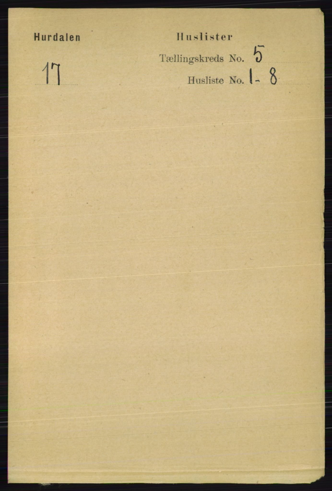 RA, Folketelling 1891 for 0239 Hurdal herred, 1891, s. 2007