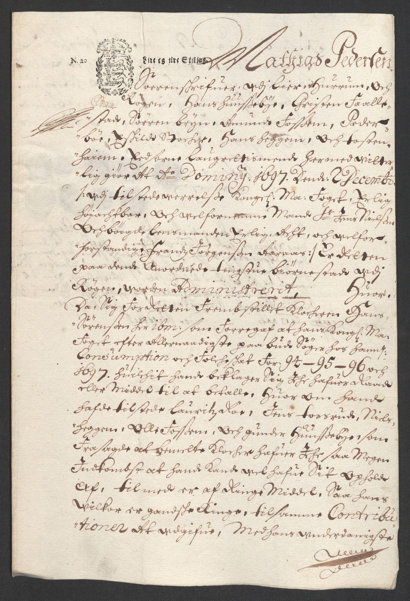 RA, Rentekammeret inntil 1814, Reviderte regnskaper, Fogderegnskap, R30/L1695: Fogderegnskap Hurum, Røyken, Eiker og Lier, 1697, s. 216