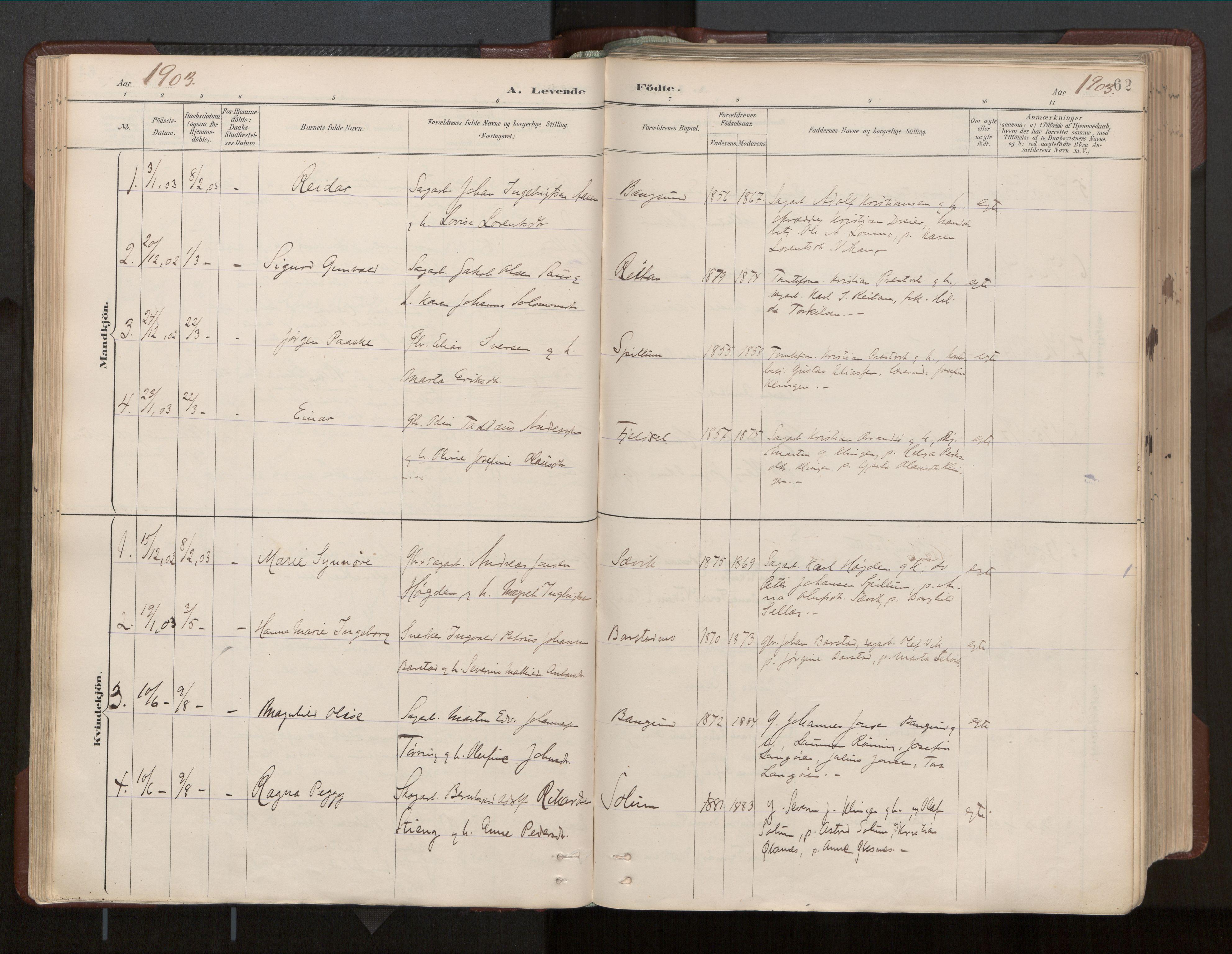 SAT, Ministerialprotokoller, klokkerbøker og fødselsregistre - Nord-Trøndelag, 770/L0589: Ministerialbok nr. 770A03, 1887-1929, s. 62