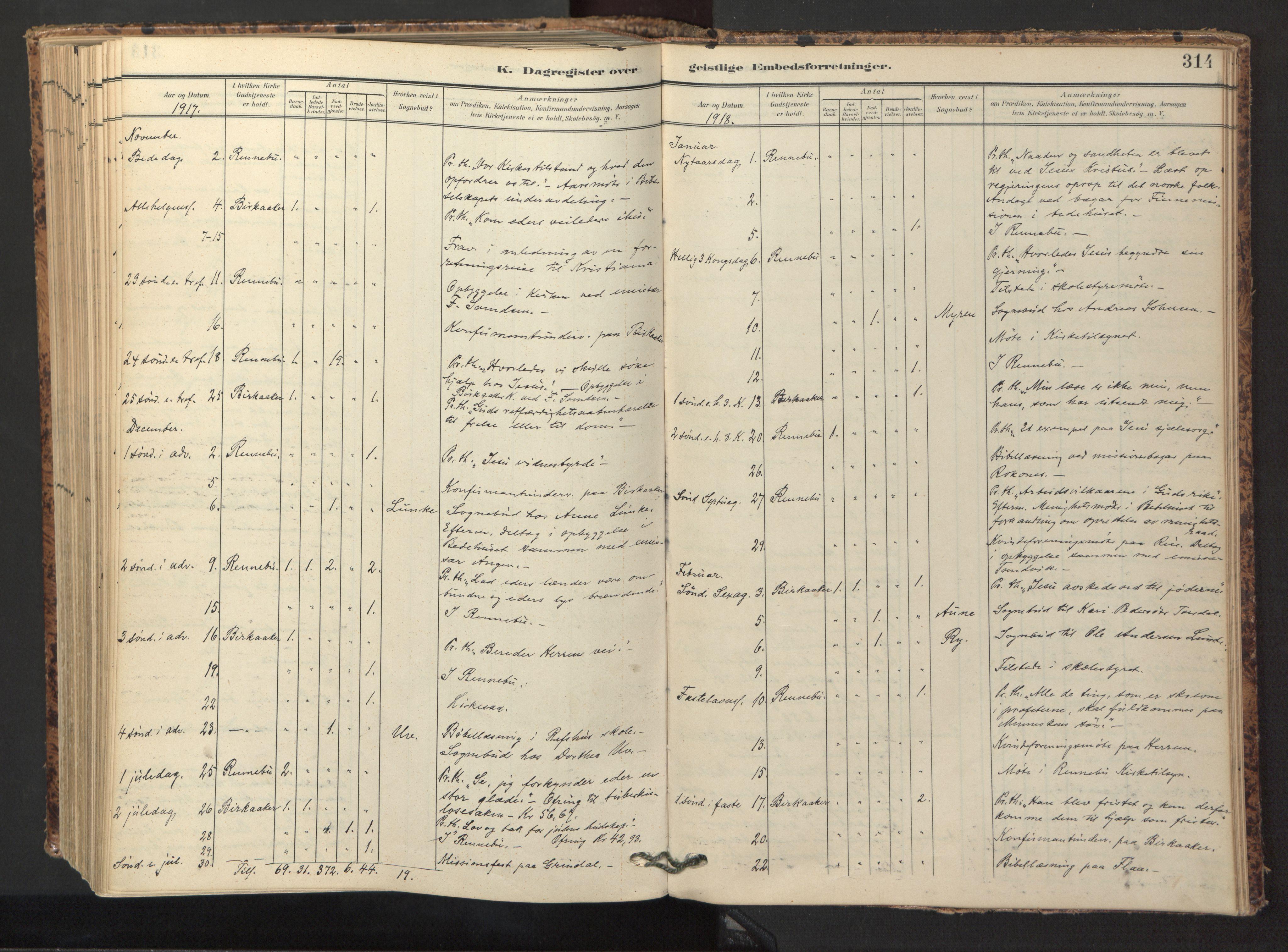 SAT, Ministerialprotokoller, klokkerbøker og fødselsregistre - Sør-Trøndelag, 674/L0873: Ministerialbok nr. 674A05, 1908-1923, s. 314