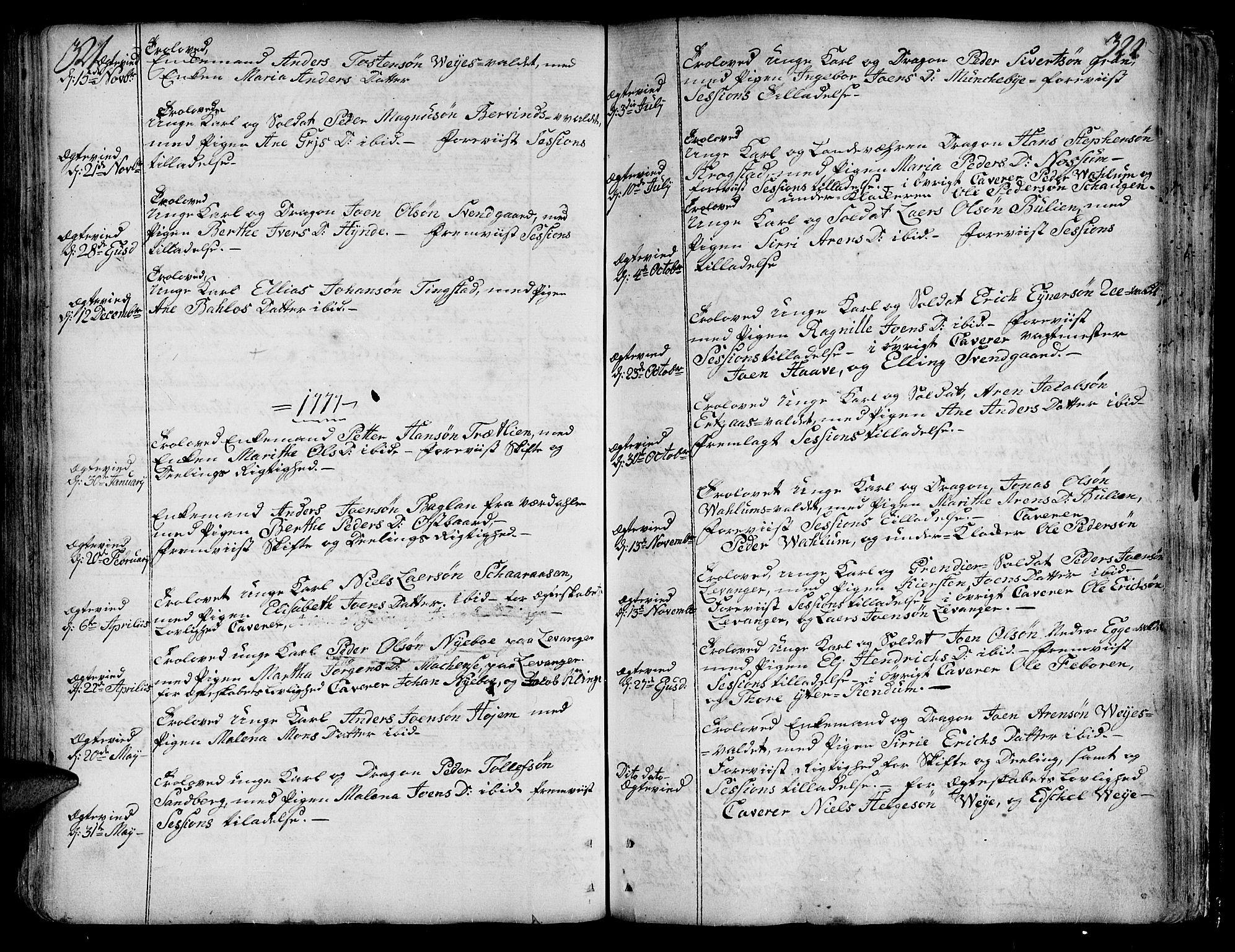 SAT, Ministerialprotokoller, klokkerbøker og fødselsregistre - Nord-Trøndelag, 717/L0141: Ministerialbok nr. 717A01, 1747-1803, s. 321-322