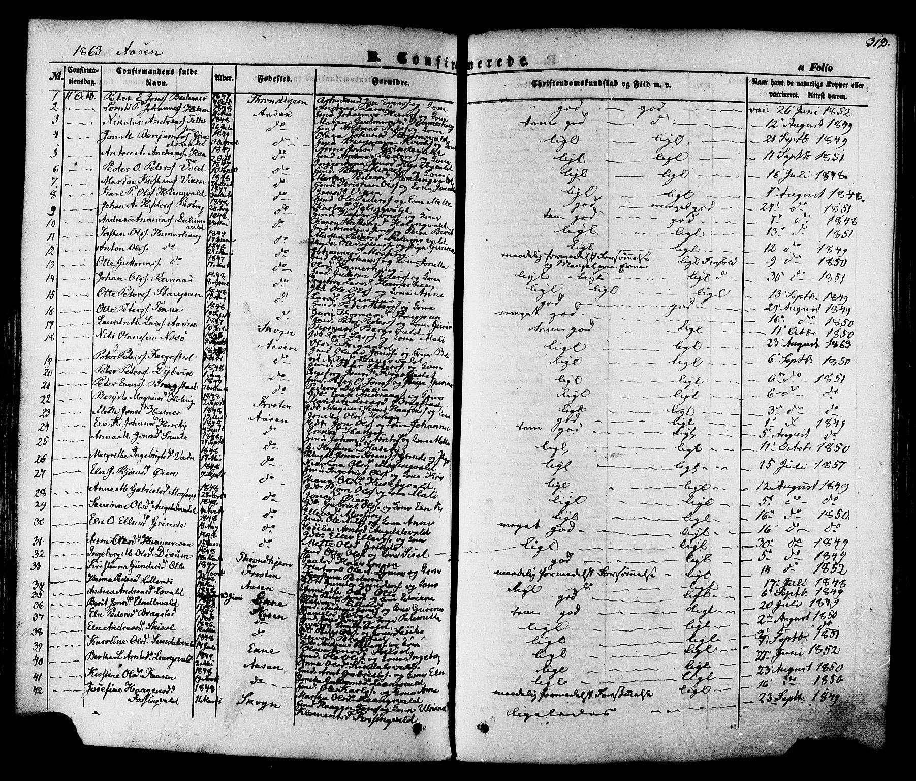 SAT, Ministerialprotokoller, klokkerbøker og fødselsregistre - Nord-Trøndelag, 713/L0116: Ministerialbok nr. 713A07, 1850-1877, s. 312