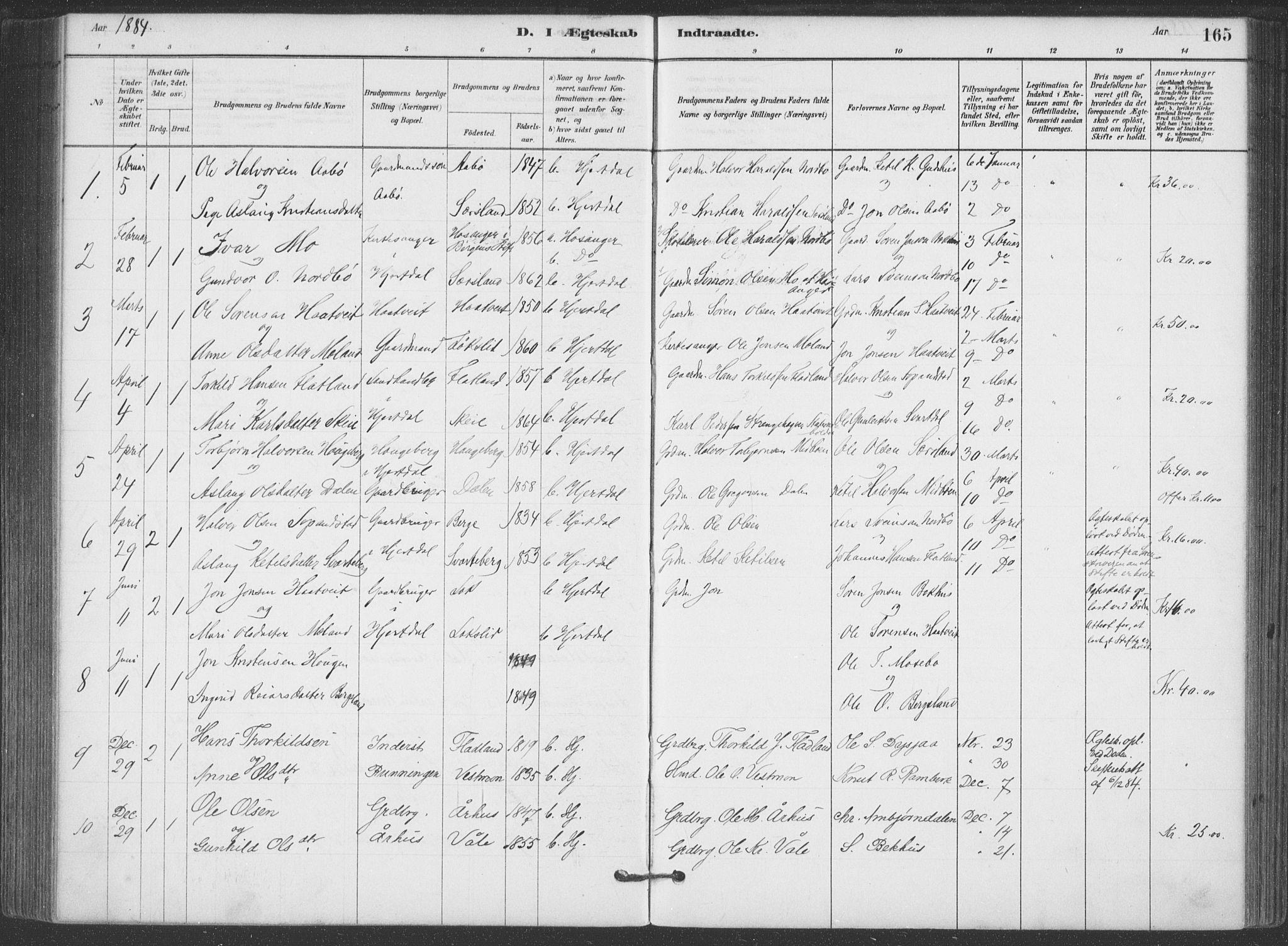 SAKO, Hjartdal kirkebøker, F/Fa/L0010: Ministerialbok nr. I 10, 1880-1929, s. 165