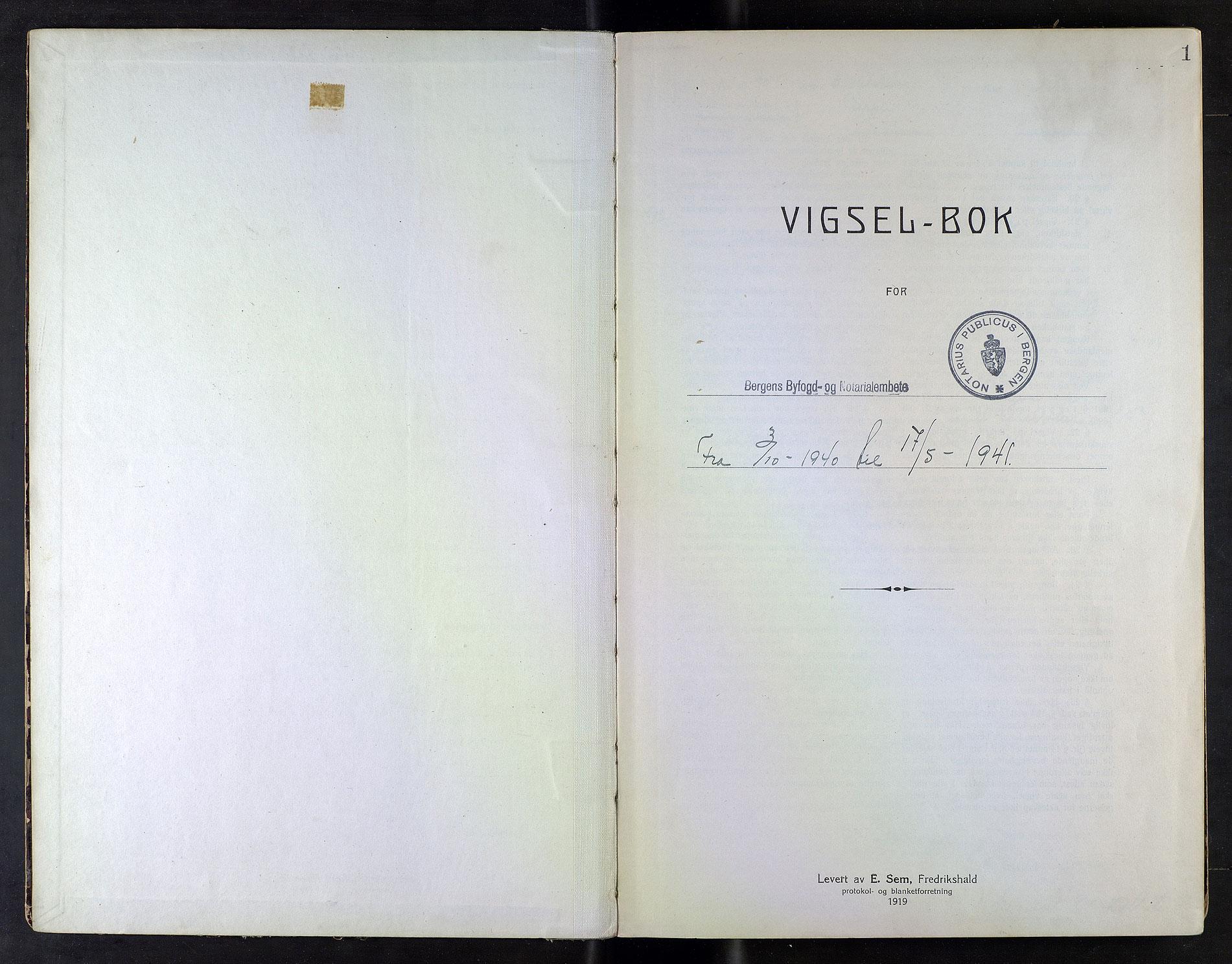 SAB, Bergen byfogd og byskriver*, 1940-1941, s. 1a