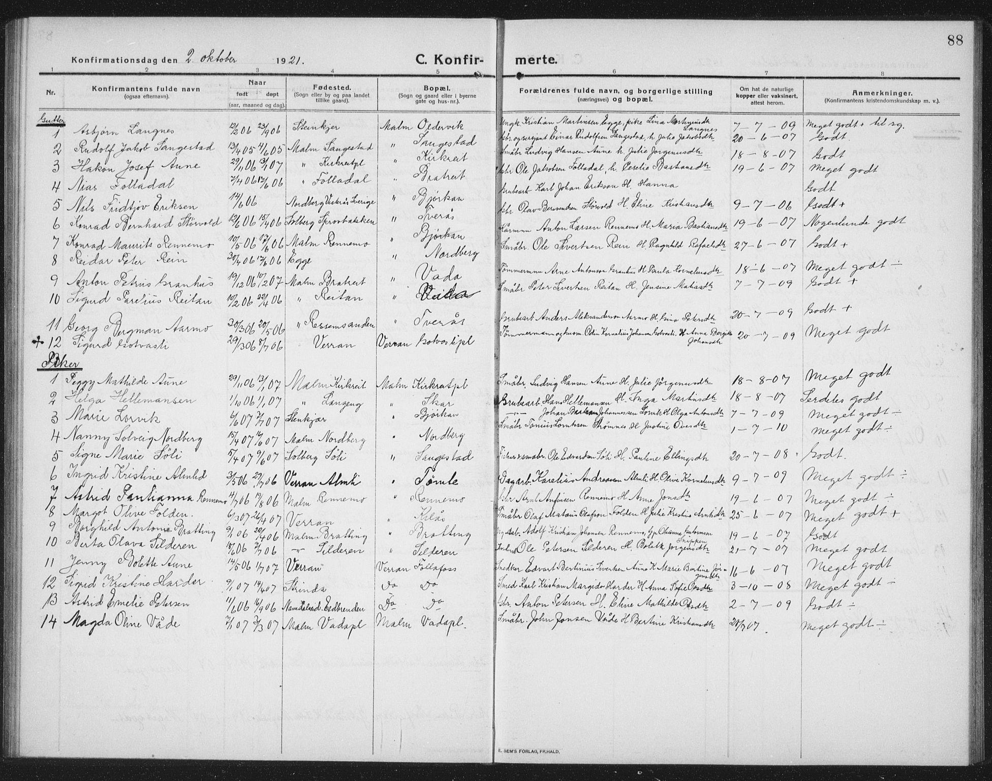 SAT, Ministerialprotokoller, klokkerbøker og fødselsregistre - Nord-Trøndelag, 745/L0434: Klokkerbok nr. 745C03, 1914-1937, s. 88