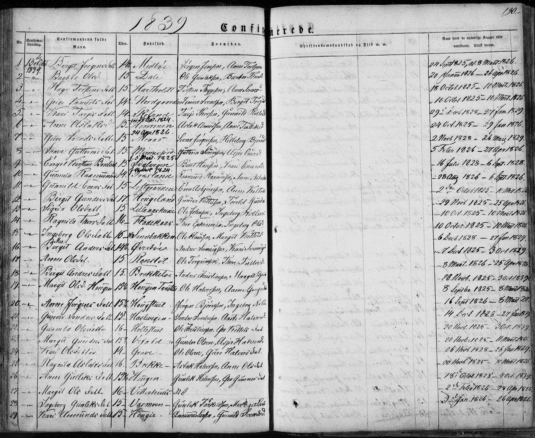 SAKO, Seljord kirkebøker, F/Fa/L0011: Ministerialbok nr. I 11, 1831-1849, s. 190