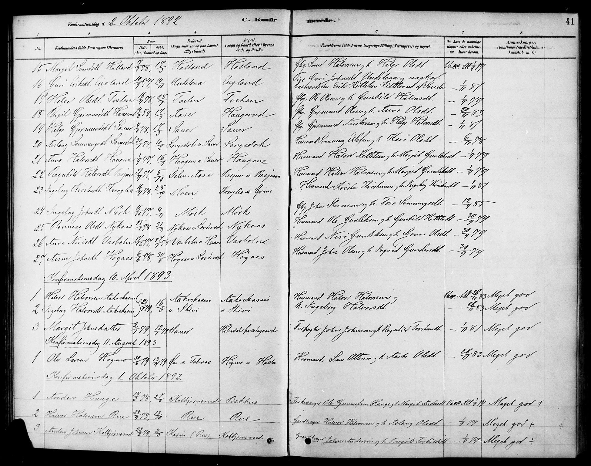 SAKO, Heddal kirkebøker, F/Fa/L0009: Ministerialbok nr. I 9, 1878-1903, s. 41
