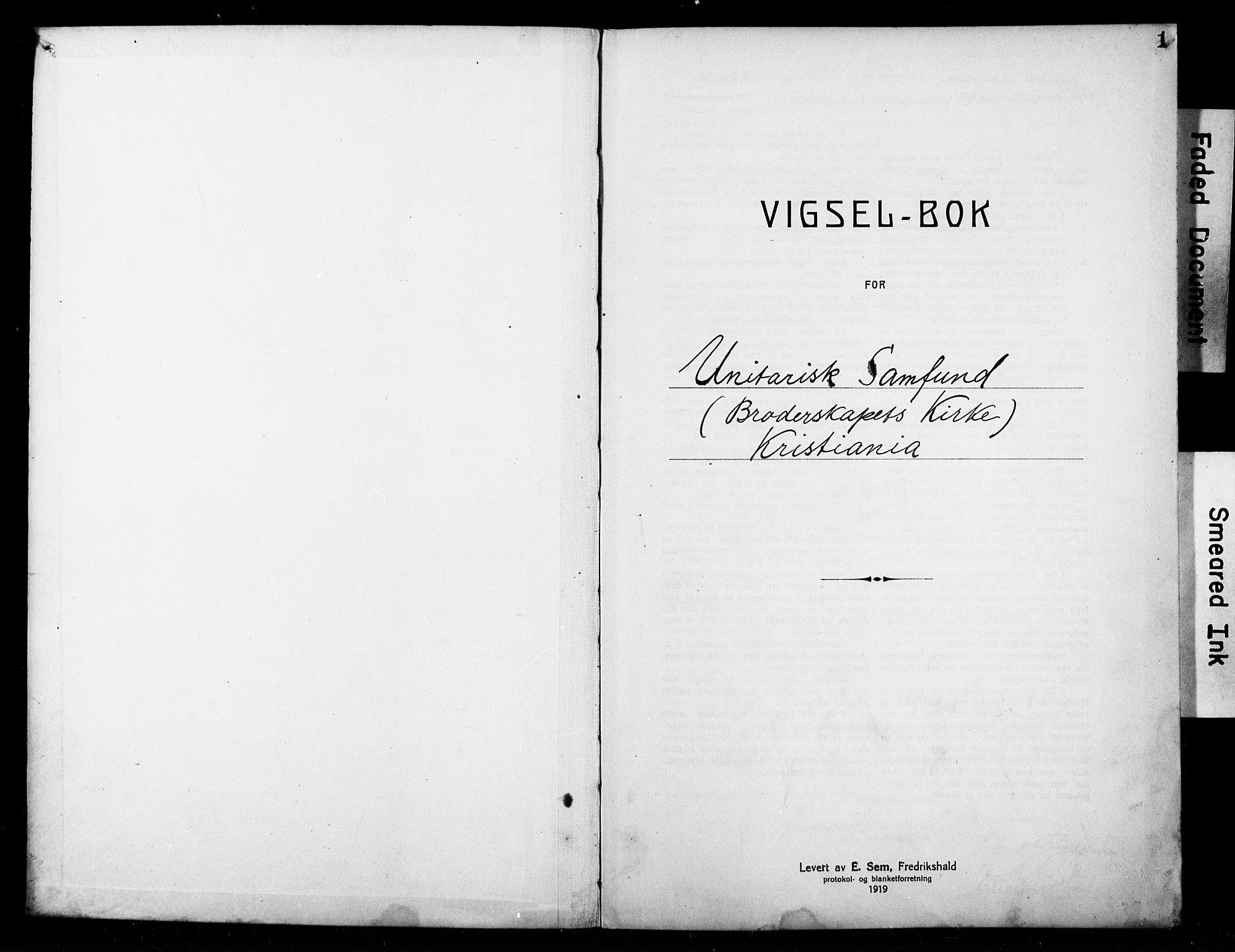 SAO, Broderskapets kirke Oslo , D/L0002: Vigselsbok (dissentere) nr. 2, 1923-1927, s. 1