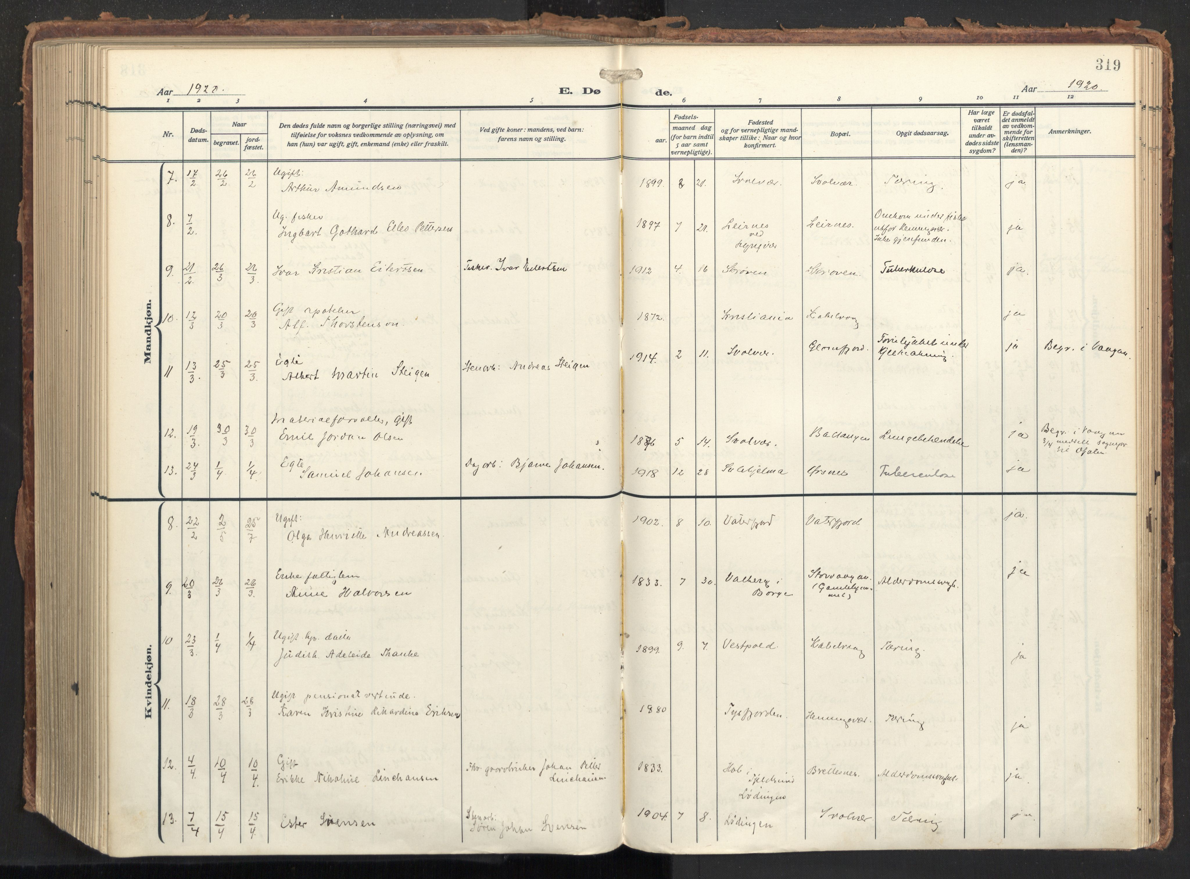 SAT, Ministerialprotokoller, klokkerbøker og fødselsregistre - Nordland, 874/L1064: Ministerialbok nr. 874A08, 1915-1926, s. 319