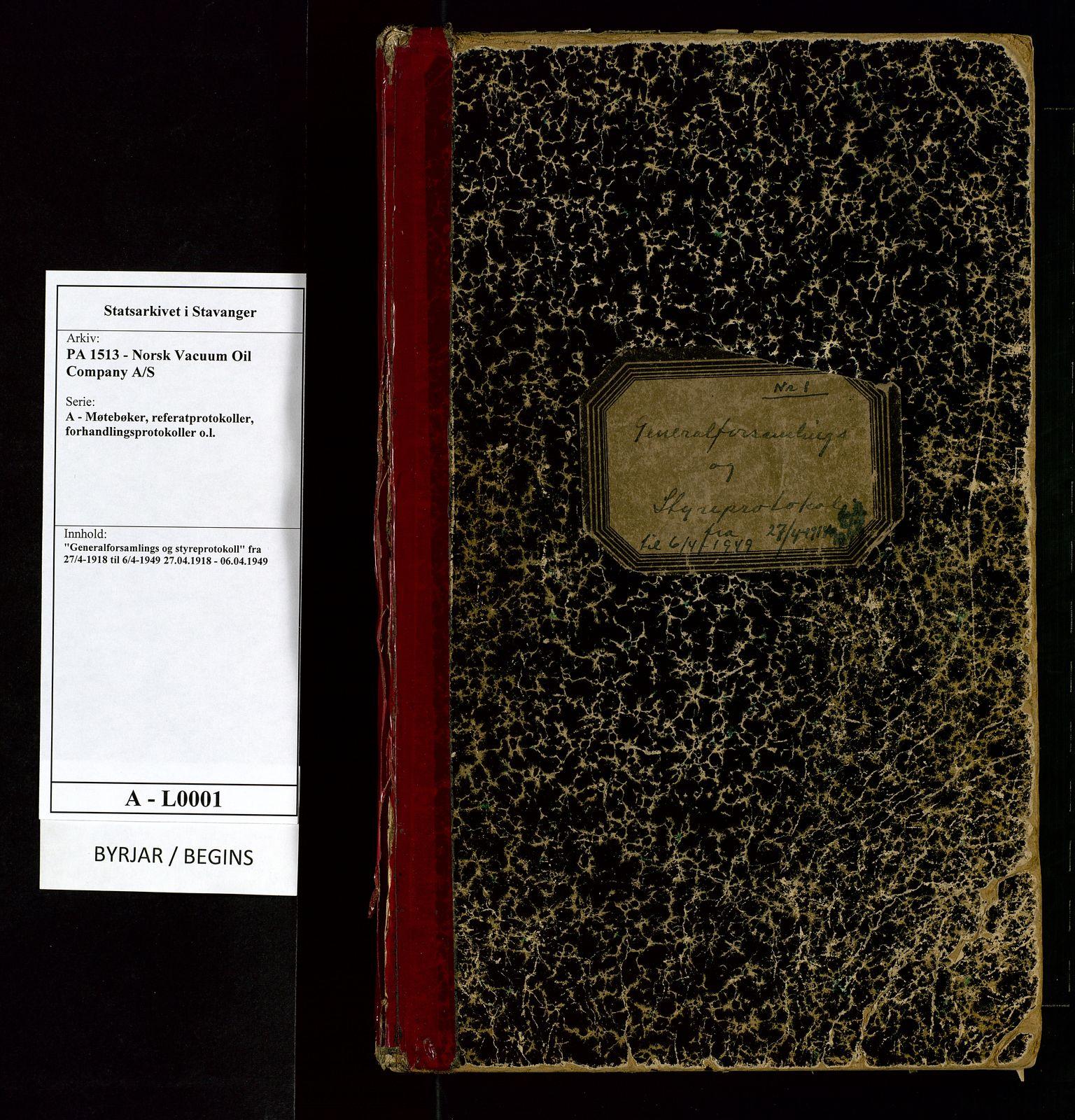 """SAST, PA 1513 - Norsk Vacuum Oil Company A/S, A/L0001: """"Generalforsamlings og styreprotokoll"""" fra 27/4-1918 til 6/4-1949, 1918-1949, s. upaginert"""
