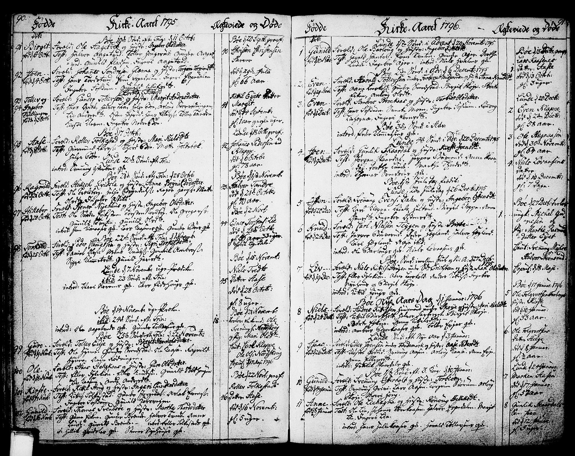 SAKO, Bø kirkebøker, F/Fa/L0005: Ministerialbok nr. 5, 1785-1815, s. 90-91