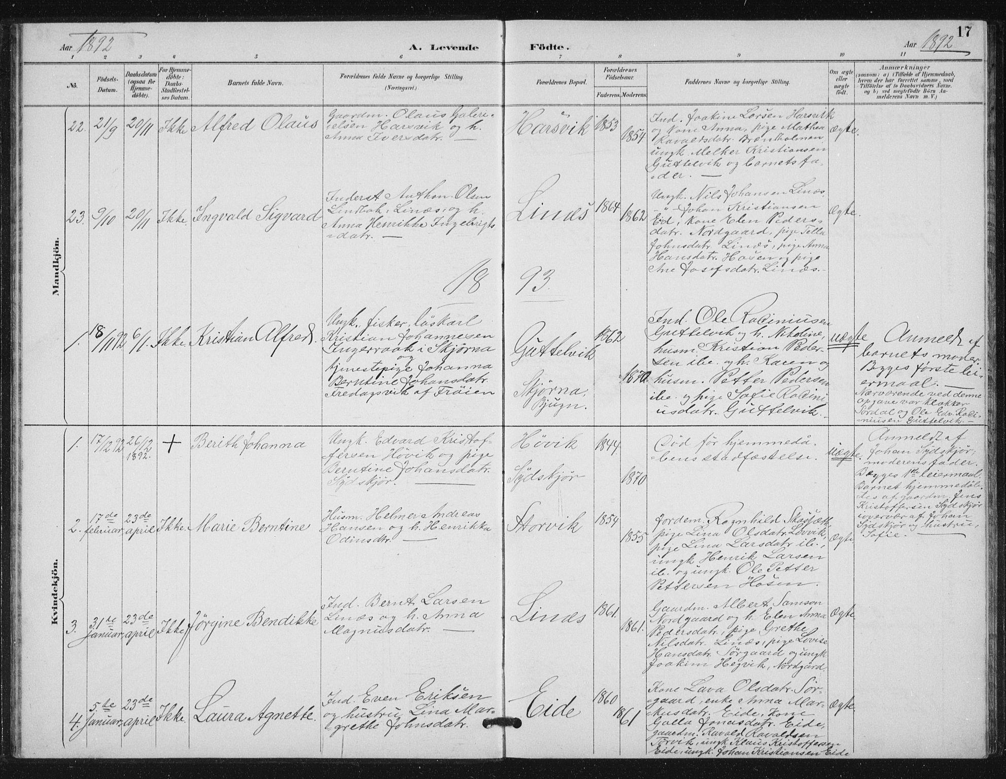 SAT, Ministerialprotokoller, klokkerbøker og fødselsregistre - Sør-Trøndelag, 656/L0698: Klokkerbok nr. 656C04, 1890-1904, s. 17