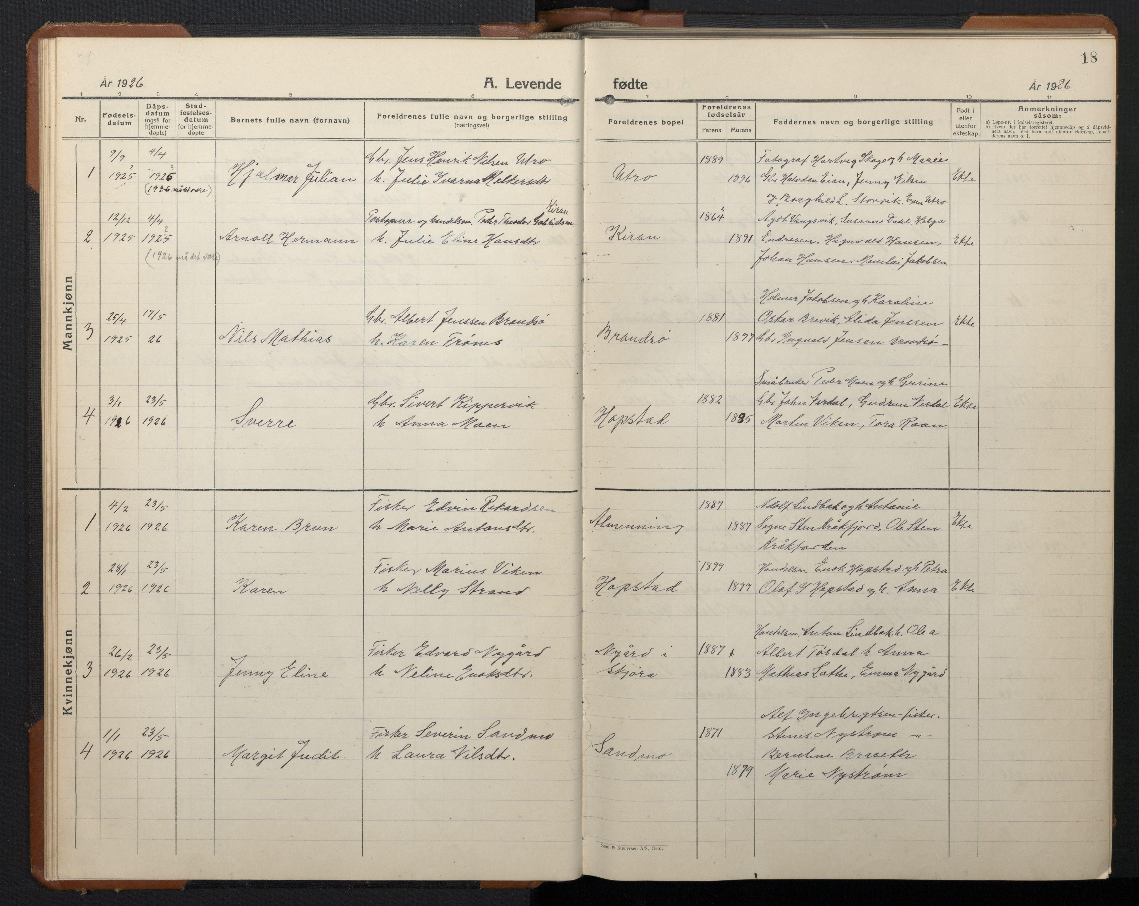 SAT, Ministerialprotokoller, klokkerbøker og fødselsregistre - Sør-Trøndelag, 657/L0718: Klokkerbok nr. 657C05, 1923-1948, s. 18