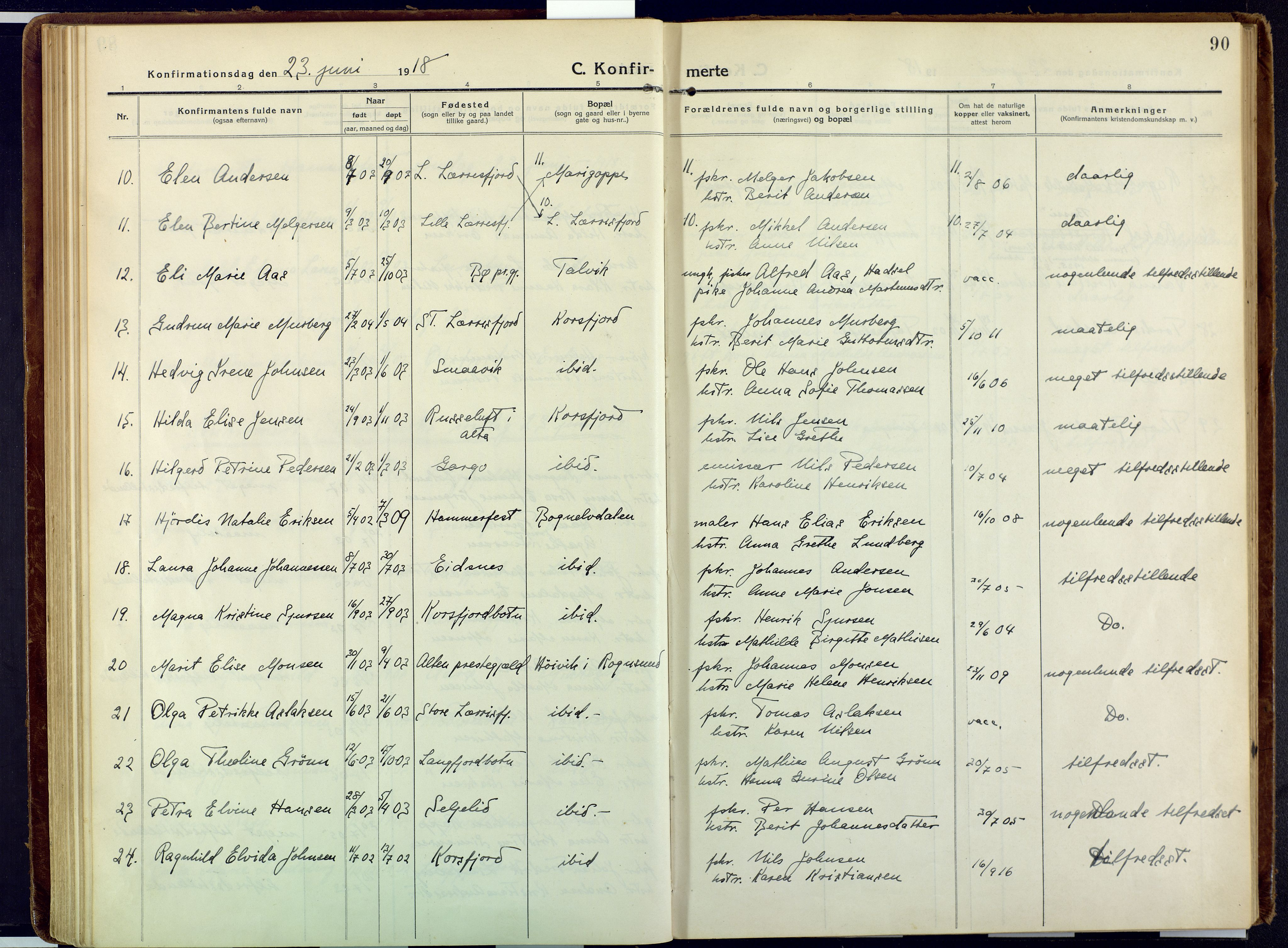 SATØ, Talvik sokneprestkontor, H/Ha/L0018kirke: Ministerialbok nr. 18, 1915-1924, s. 90