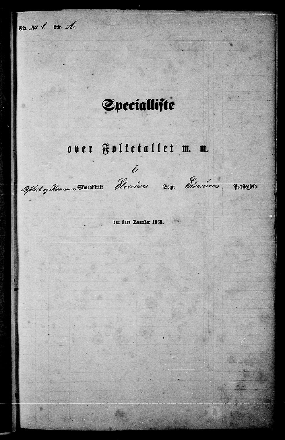 RA, Folketelling 1865 for 0427P Elverum prestegjeld, 1865, s. 11
