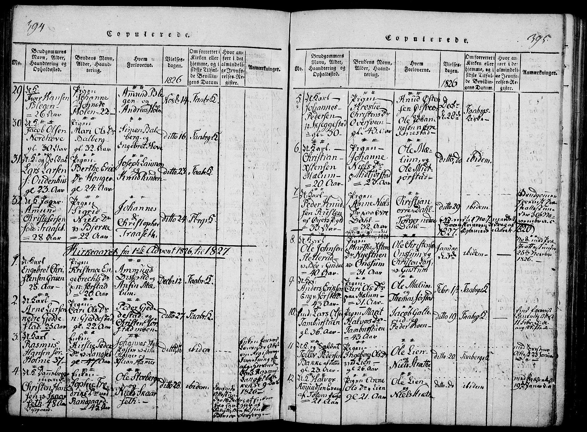 SAH, Fåberg prestekontor, Ministerialbok nr. 3, 1818-1833, s. 394-395