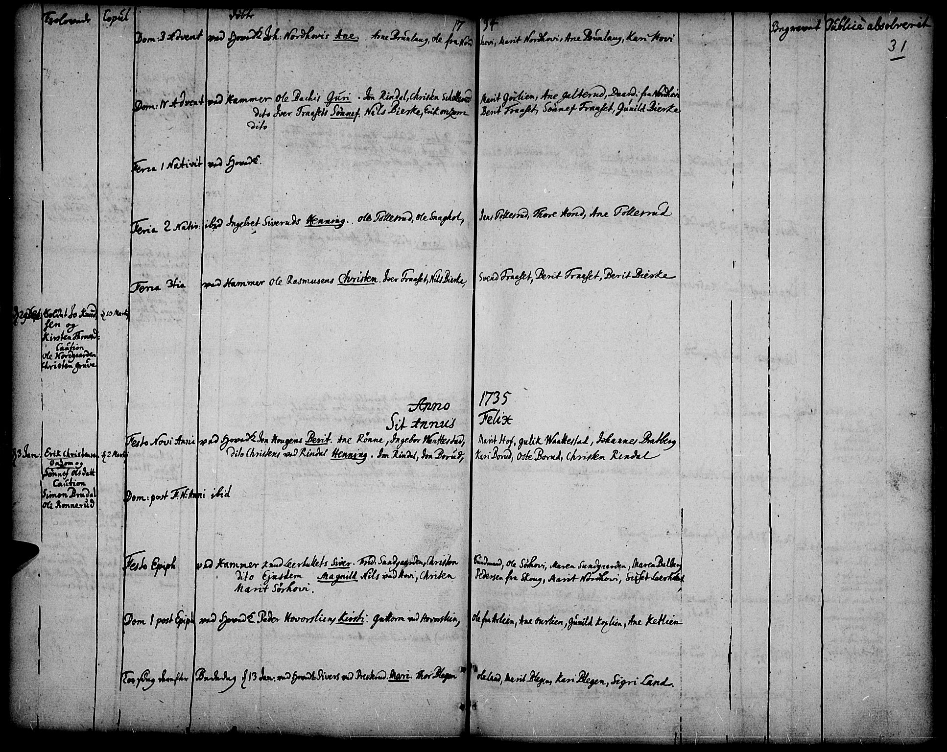 SAH, Fåberg prestekontor, Ministerialbok nr. 1, 1727-1775, s. 31