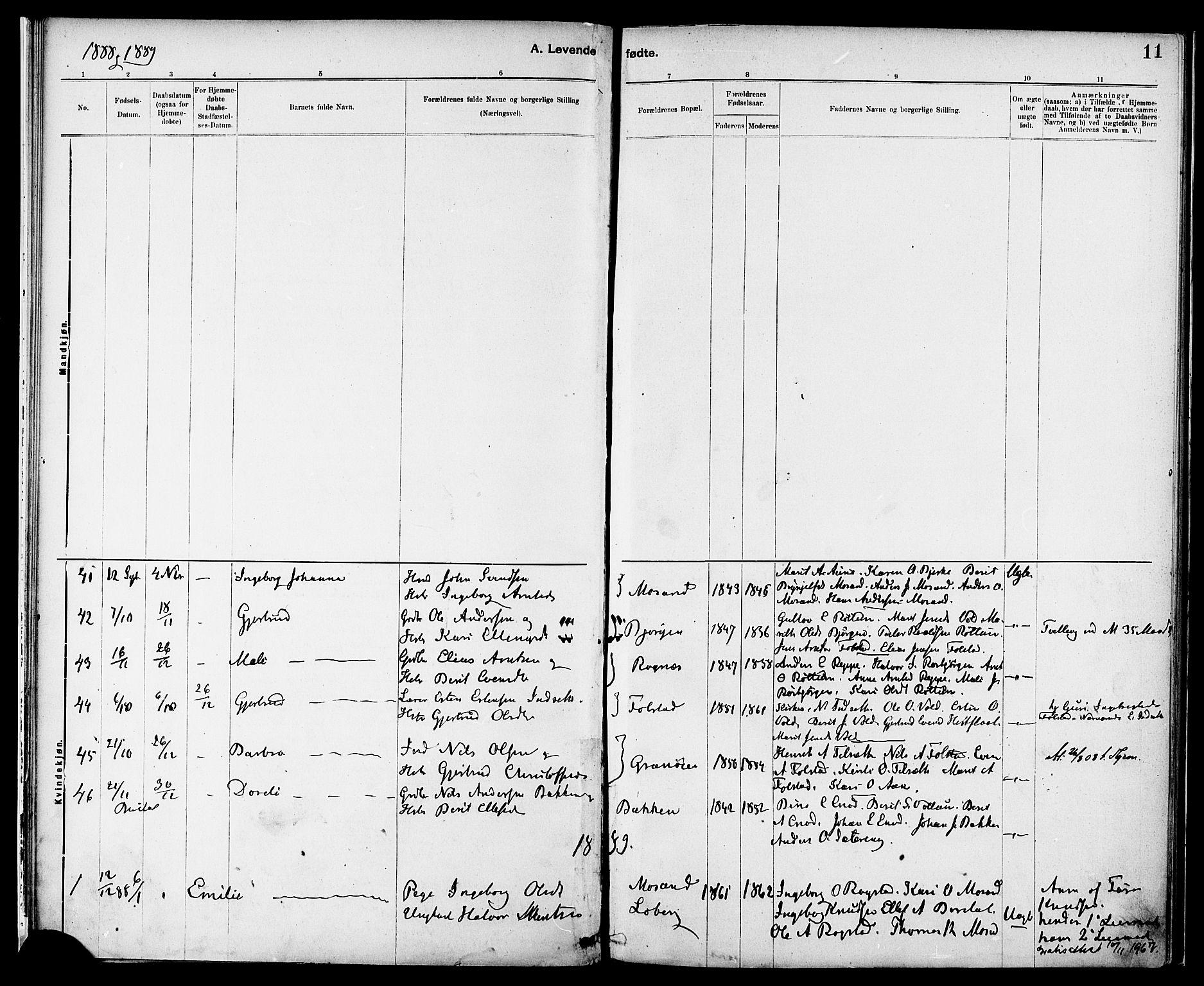 SAT, Ministerialprotokoller, klokkerbøker og fødselsregistre - Sør-Trøndelag, 687/L1003: Ministerialbok nr. 687A09, 1886-1890, s. 11