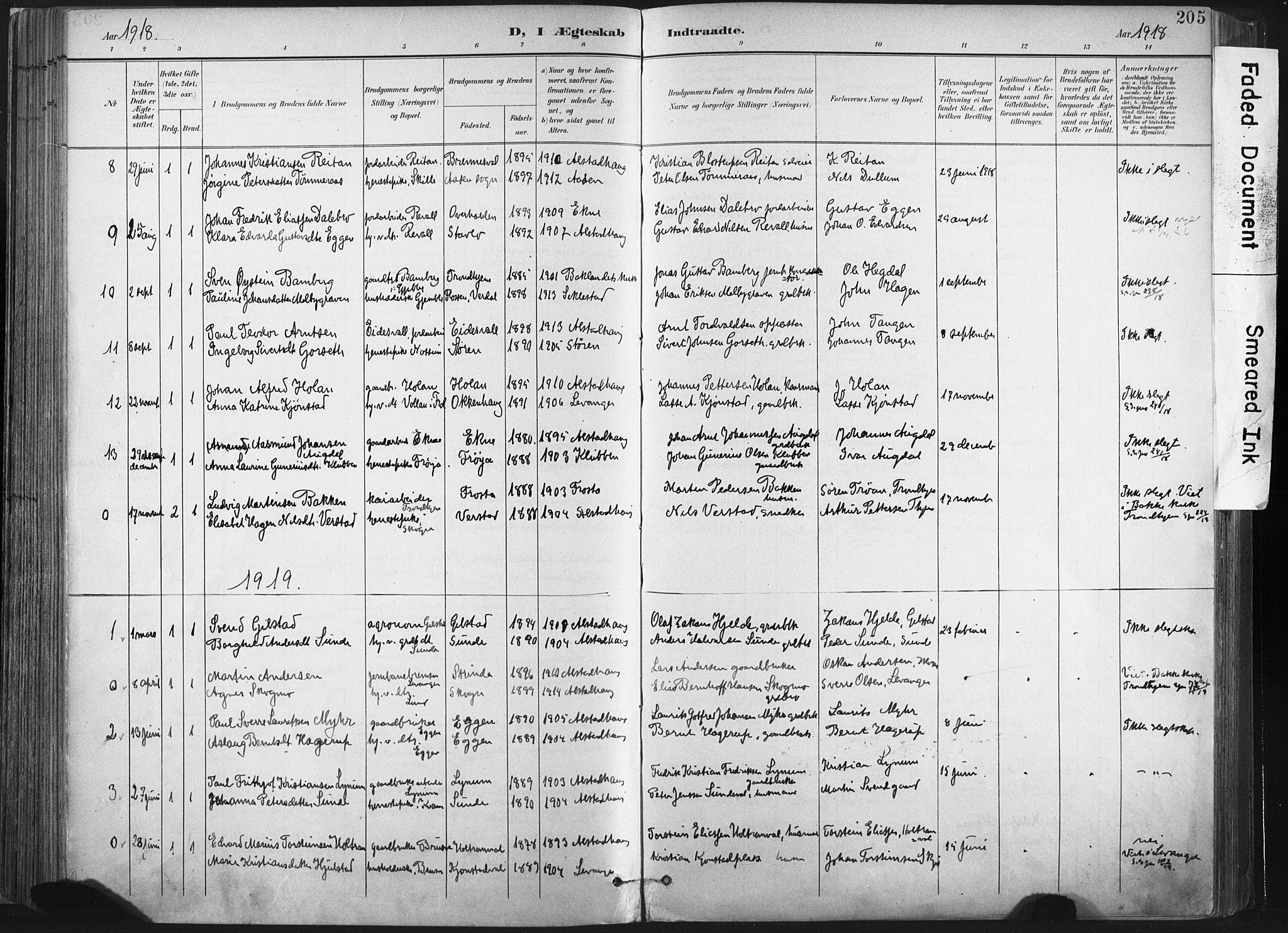 SAT, Ministerialprotokoller, klokkerbøker og fødselsregistre - Nord-Trøndelag, 717/L0162: Ministerialbok nr. 717A12, 1898-1923, s. 205