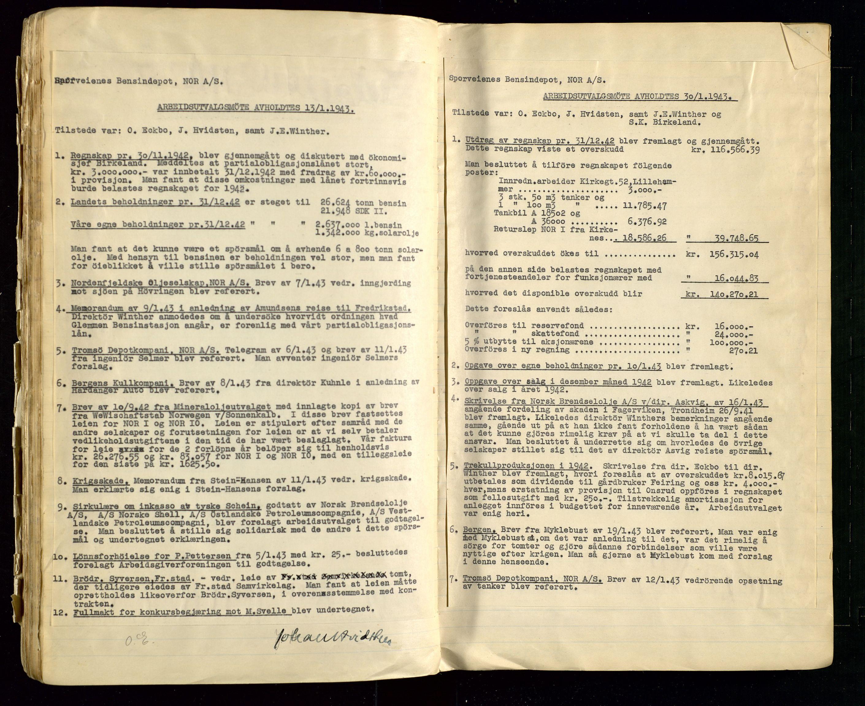SAST, PA 1514 - Sporveienes Bensindepot, Norsk Oljeraffineri A/S, A/L0002: Forhandlingsprotokoll Arbeidsutvaget, 1932-1946, s. 127
