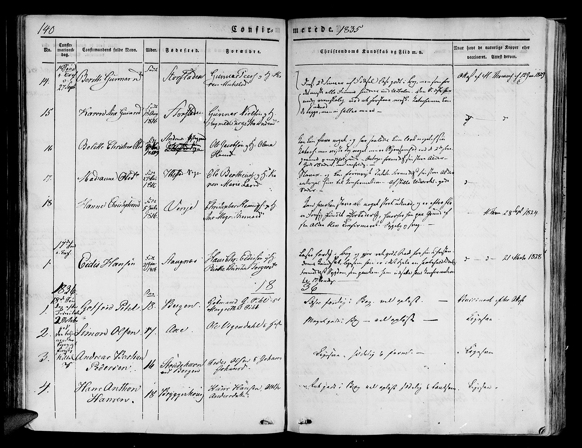SATØ, Tranøy sokneprestkontor, I/Ia/Iaa/L0005kirke: Ministerialbok nr. 5, 1829-1844, s. 140