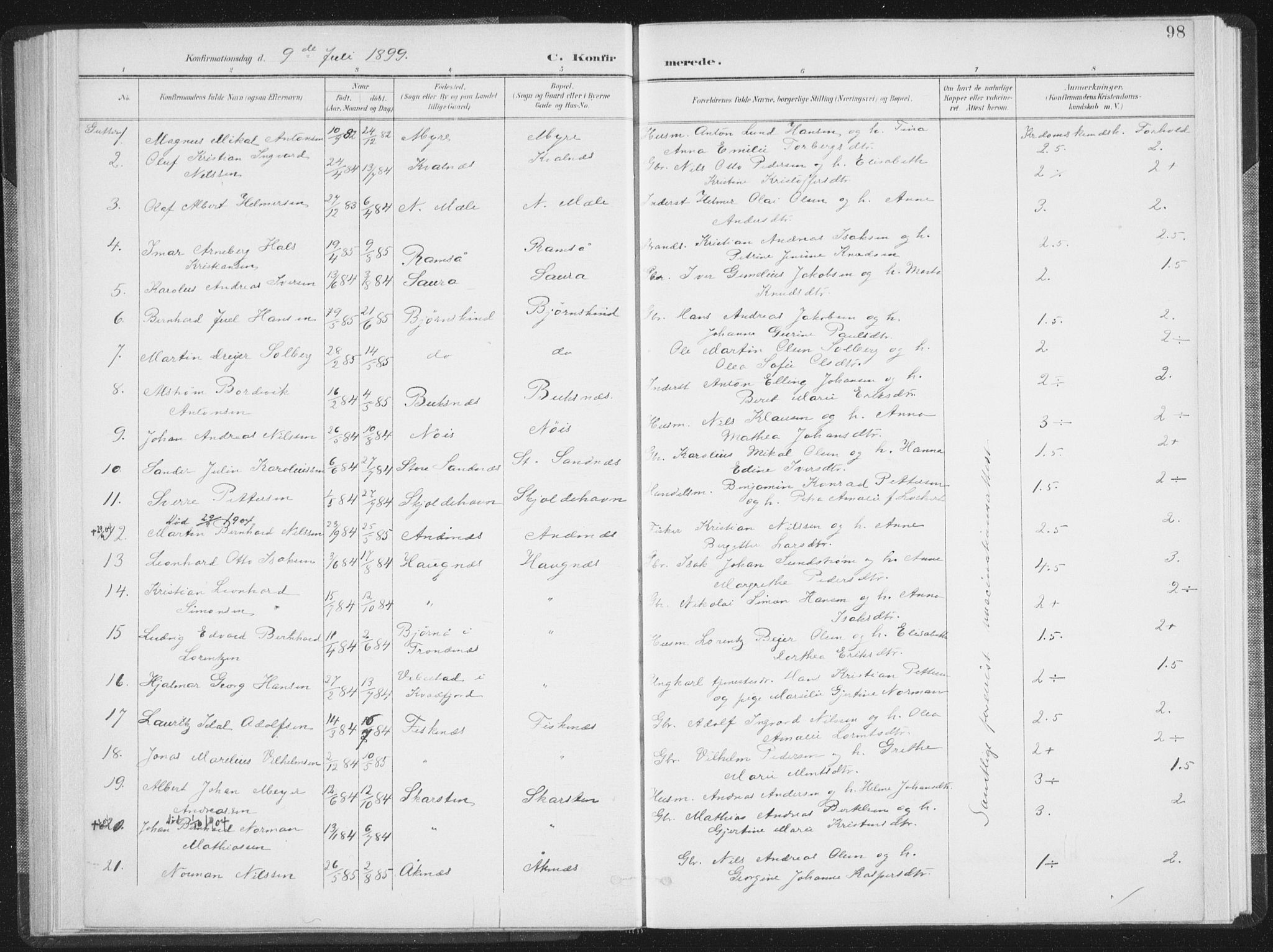 SAT, Ministerialprotokoller, klokkerbøker og fødselsregistre - Nordland, 897/L1400: Ministerialbok nr. 897A07, 1897-1908, s. 98
