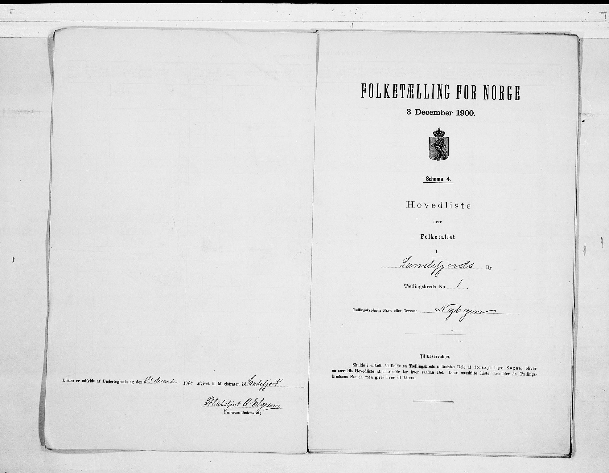 RA, Folketelling 1900 for 0706 Sandefjord kjøpstad, 1900, s. 6