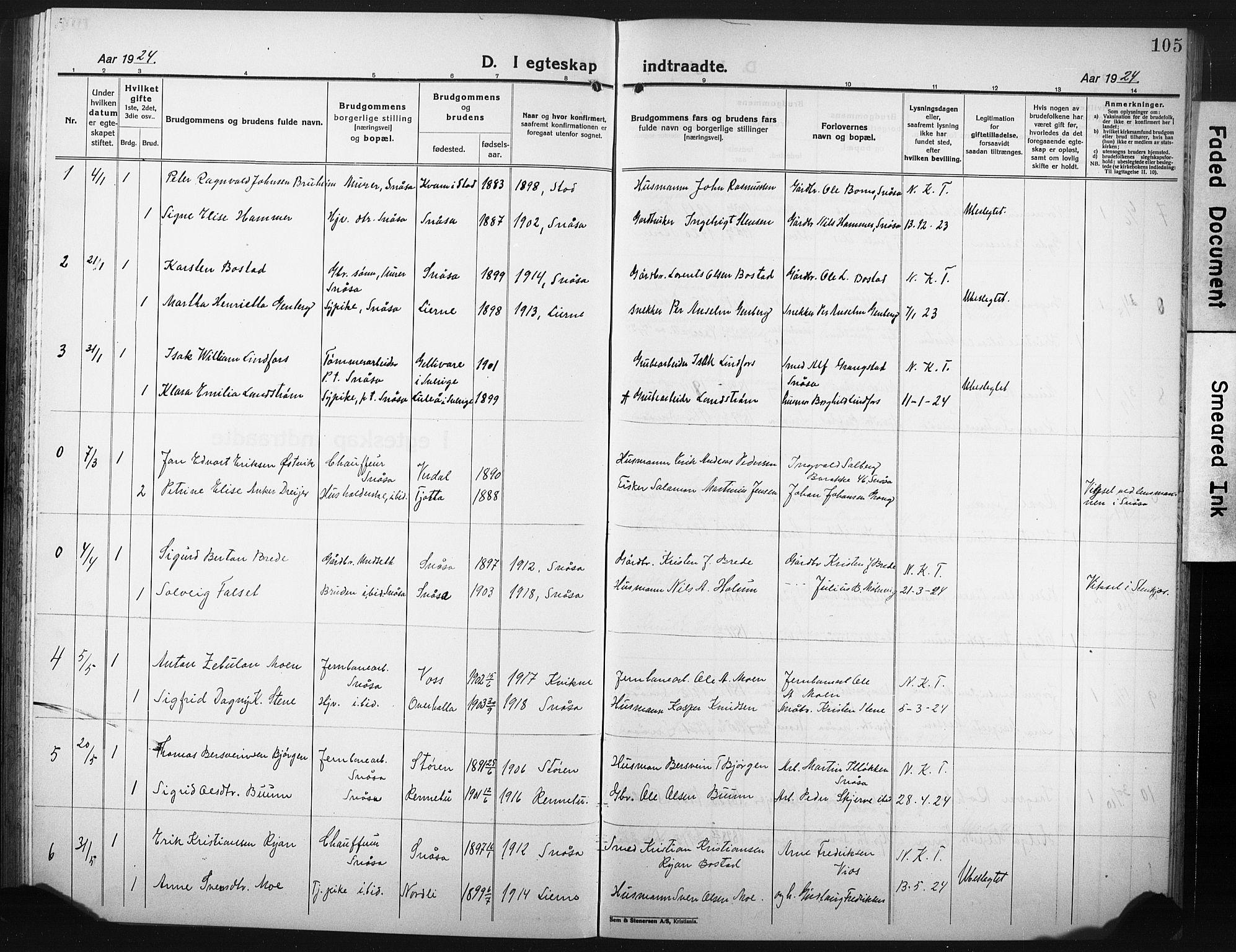 SAT, Ministerialprotokoller, klokkerbøker og fødselsregistre - Nord-Trøndelag, 749/L0480: Klokkerbok nr. 749C02, 1924-1932, s. 105