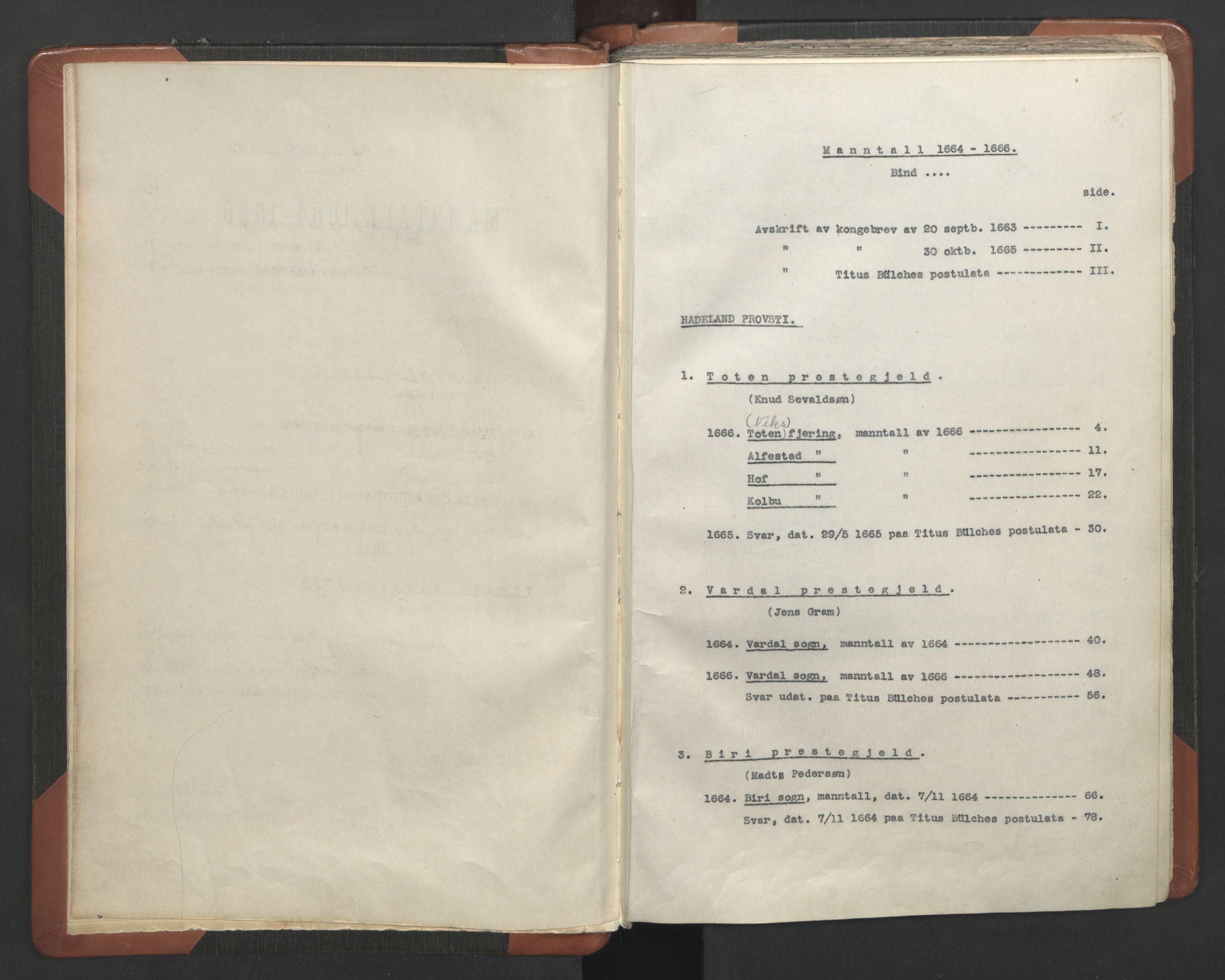 RA, Sogneprestenes manntall 1664-1666, nr. 7: Hadeland prosti, 1664-1666, s. upaginert