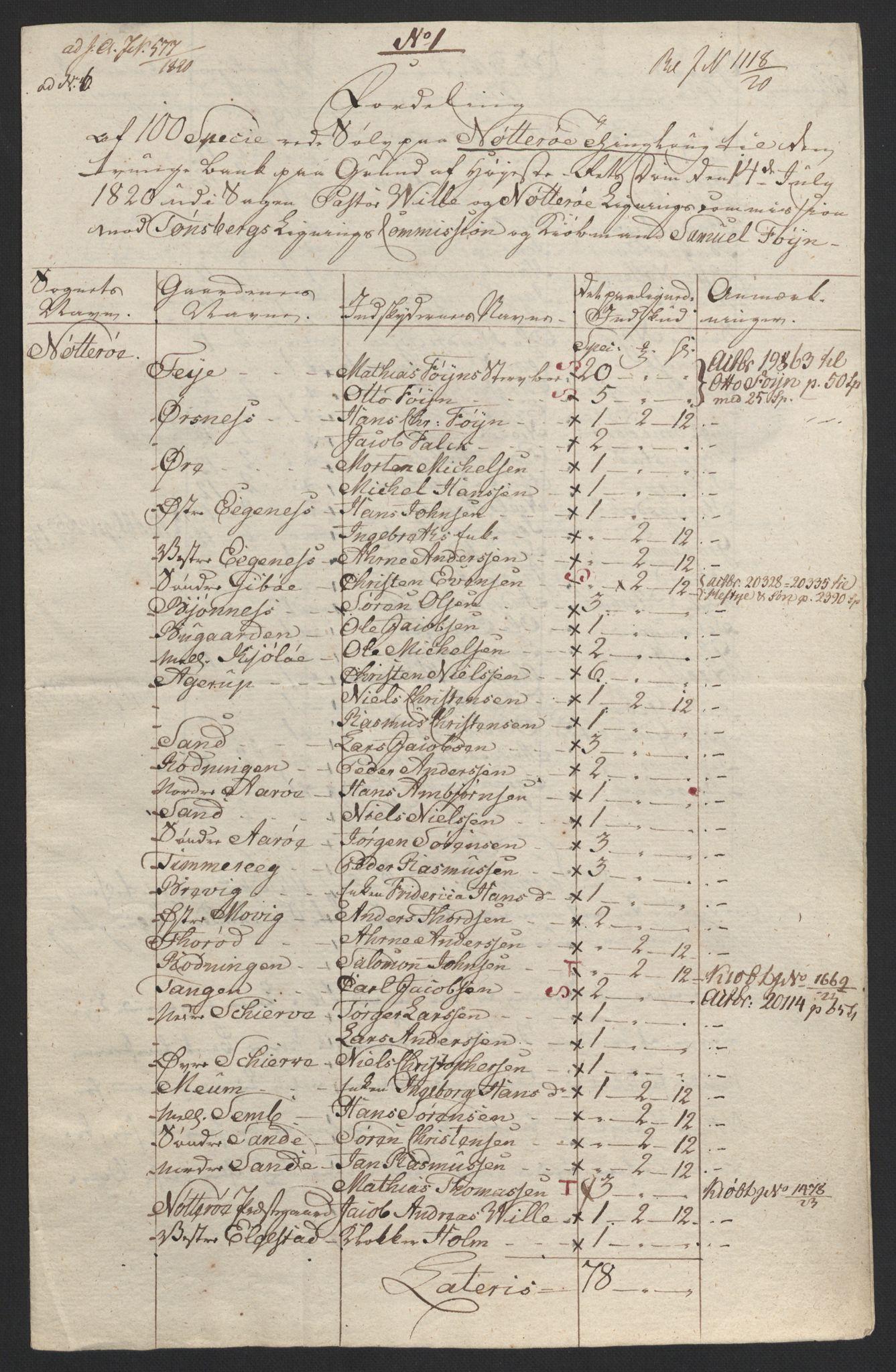 NOBA, Norges Bank/Sølvskatten 1816*, 1816-1824, s. 79