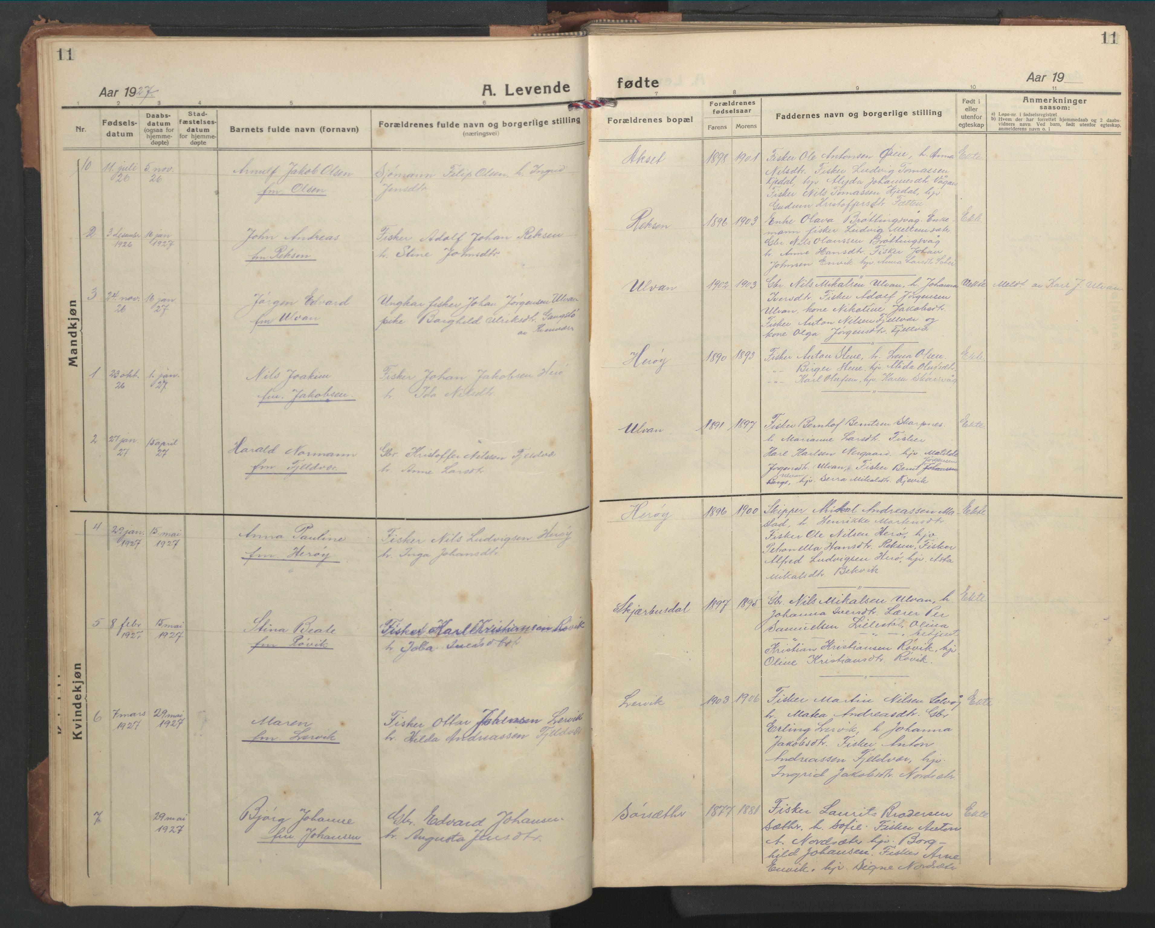 SAT, Ministerialprotokoller, klokkerbøker og fødselsregistre - Sør-Trøndelag, 638/L0569: Klokkerbok nr. 638C01, 1923-1961, s. 11