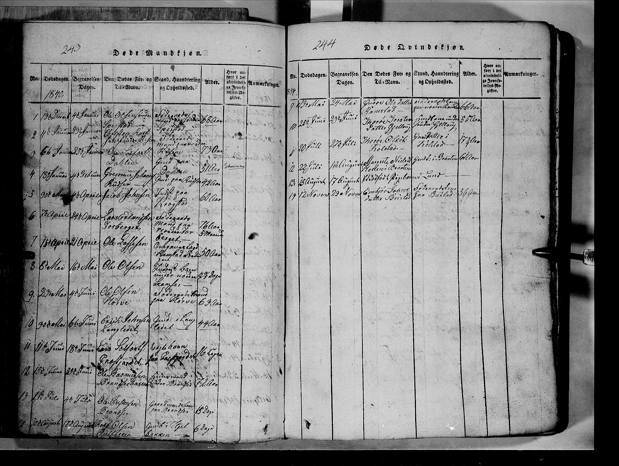 SAH, Lom prestekontor, L/L0003: Klokkerbok nr. 3, 1815-1844, s. 243-244