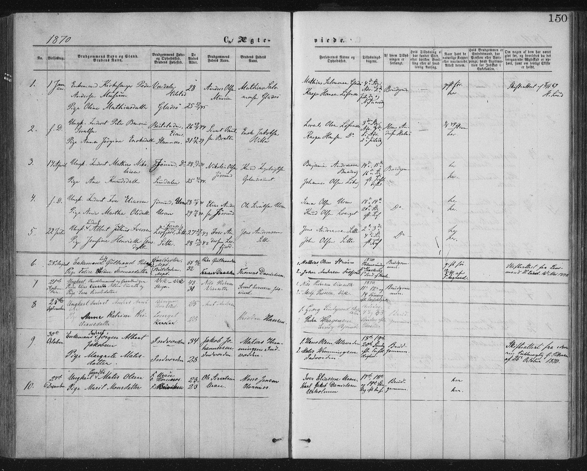 SAT, Ministerialprotokoller, klokkerbøker og fødselsregistre - Nord-Trøndelag, 771/L0596: Ministerialbok nr. 771A03, 1870-1884, s. 150