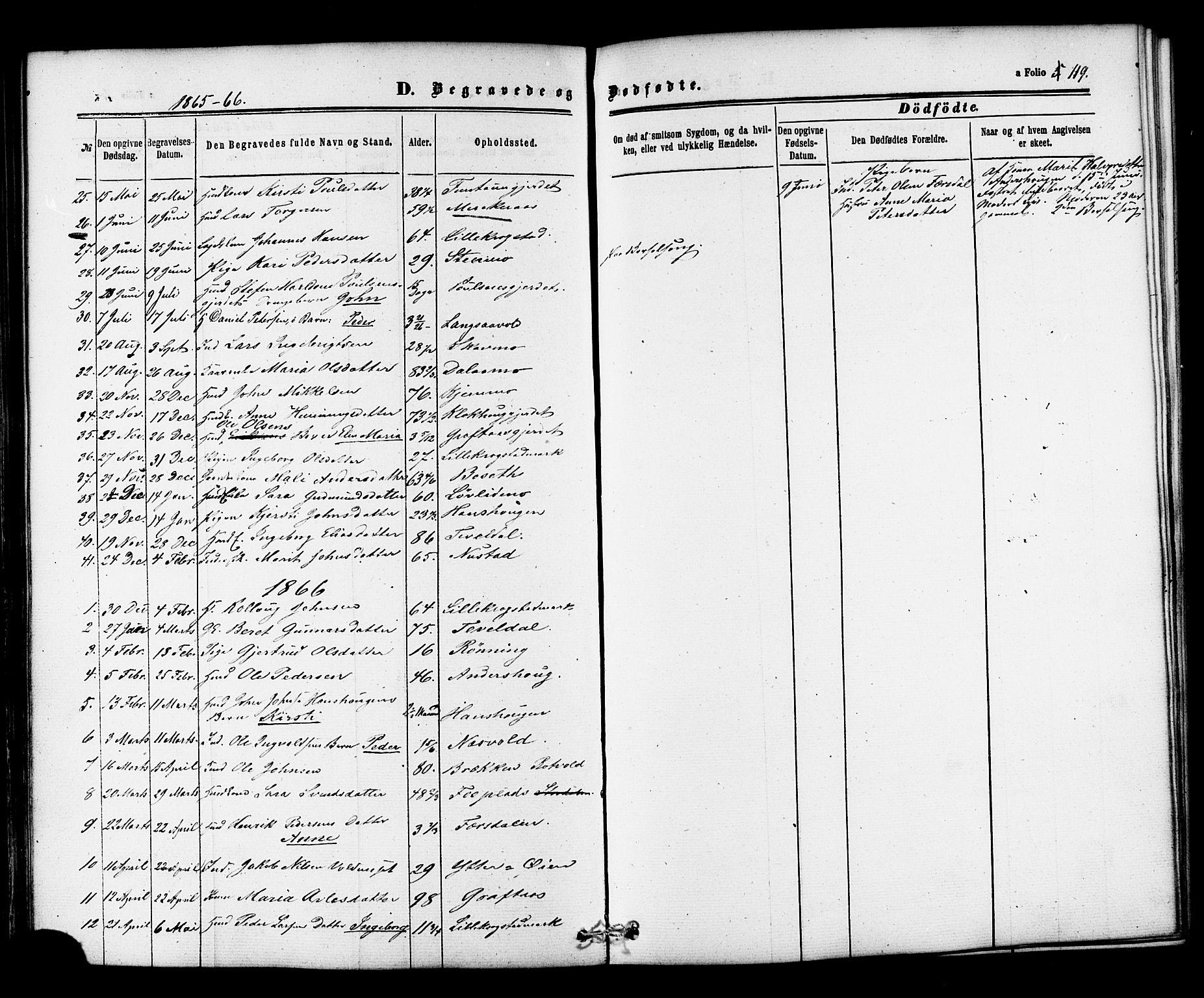 SAT, Ministerialprotokoller, klokkerbøker og fødselsregistre - Nord-Trøndelag, 706/L0041: Ministerialbok nr. 706A02, 1862-1877, s. 119