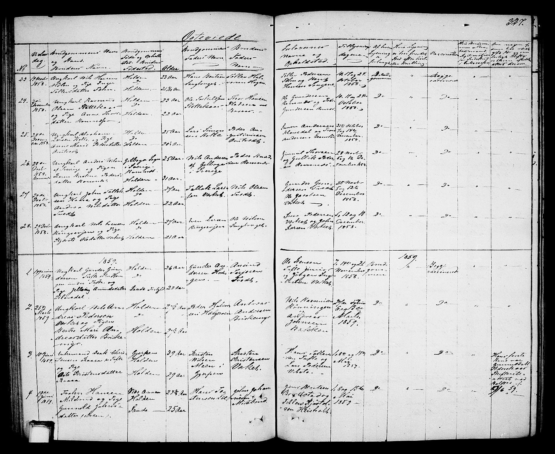 SAKO, Holla kirkebøker, G/Ga/L0003: Klokkerbok nr. I 3, 1849-1866, s. 327